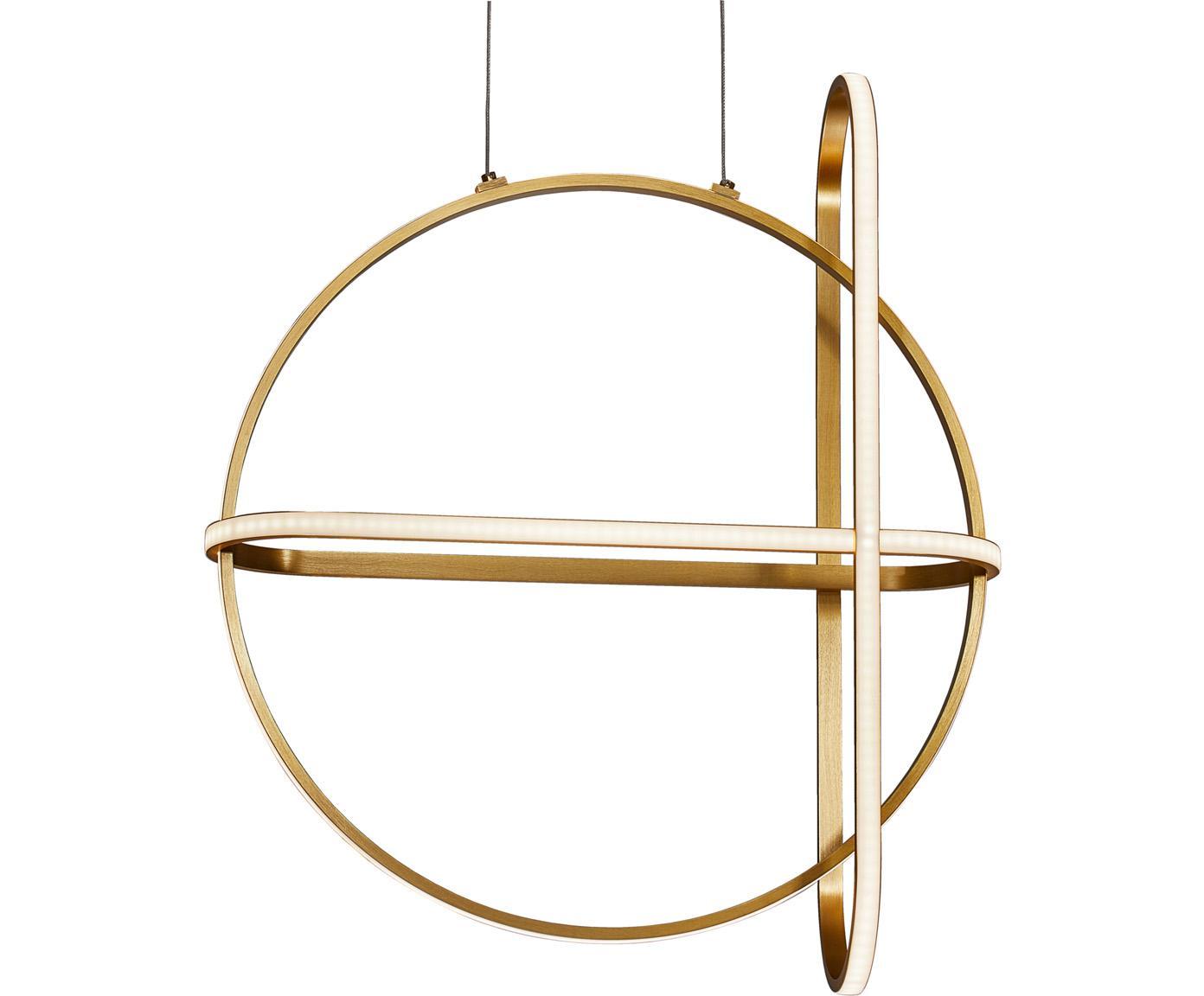 LED hanglamp Arte in messing, Diffuser: acrylglas, Baldakijn: gecoat aluminium, Messingkleurig, 52 x 120 cm