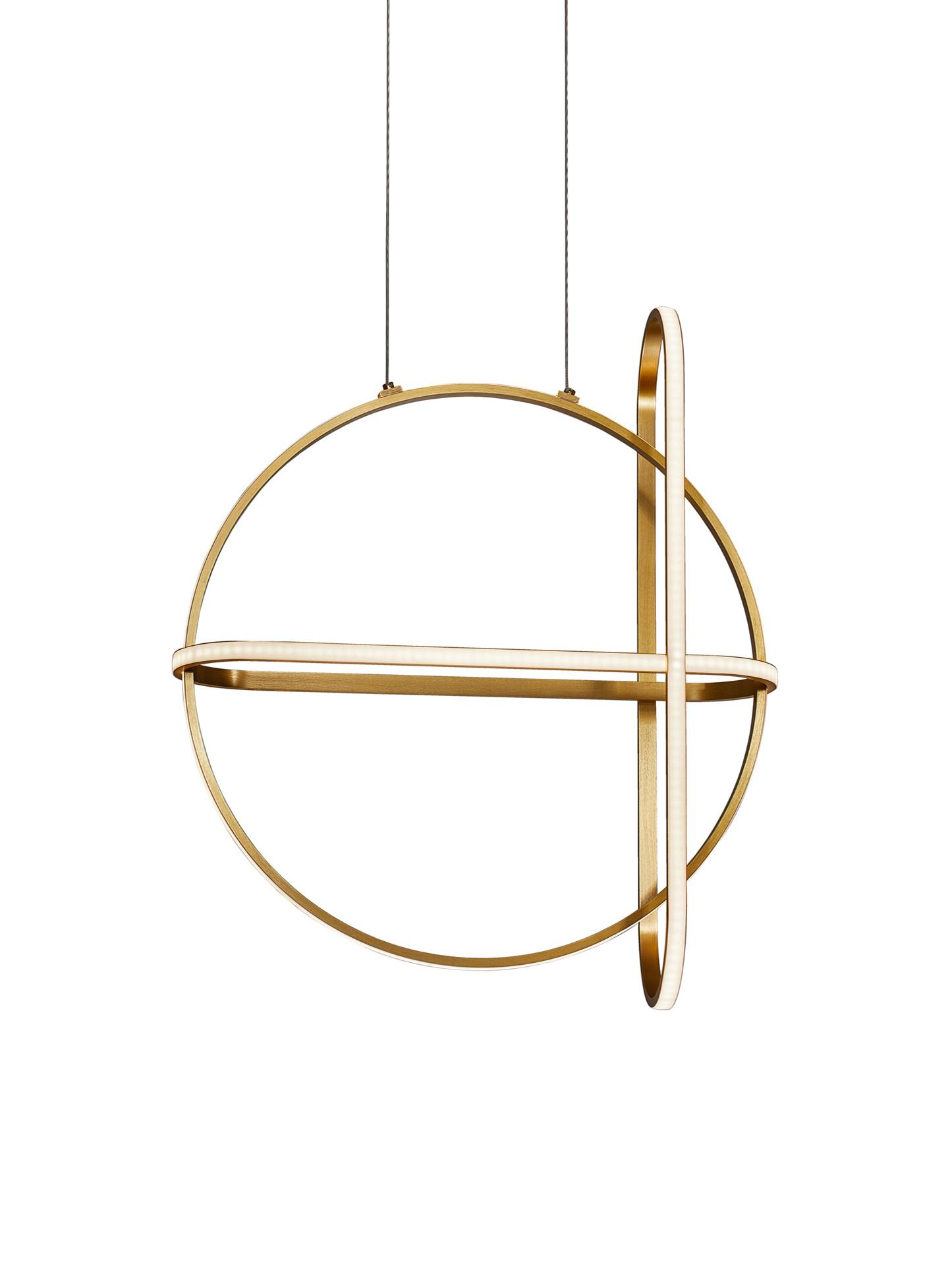 Lampada a sospensione a LED ottonata Arte, Disco diffusore: vetro acrilico, Baldacchino: alluminio rivestito, Ottonato, Larg. 52 x Alt. 120 cm