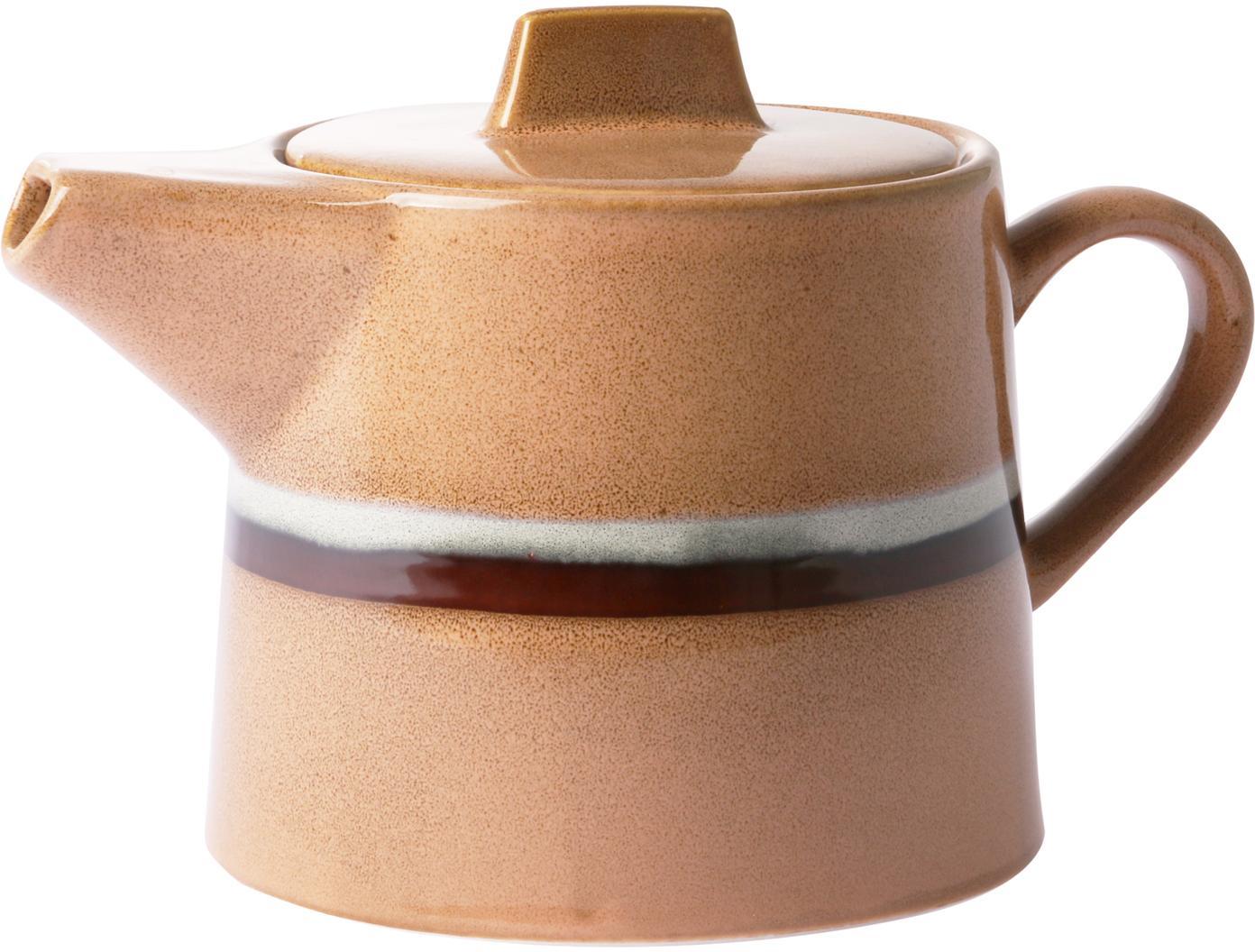 Handgemaakte theepot 70's, Keramiek, Perzikkleurig, Ø 1 x H 2 cm