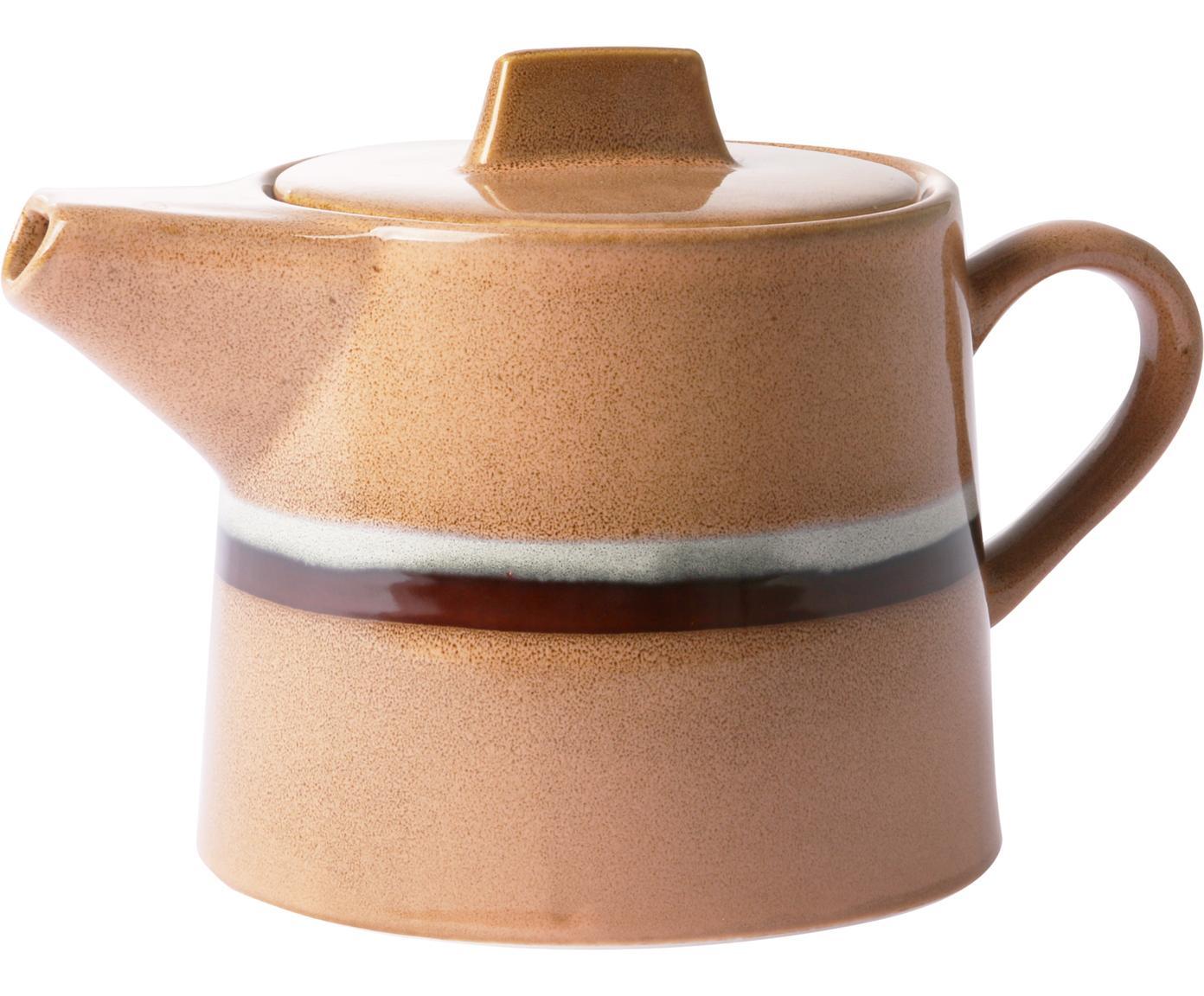 Handgemachte Teekanne 70's im Retro Style, Keramik, Pfirsichfarben, Grau, Schwarz, 1,2 L