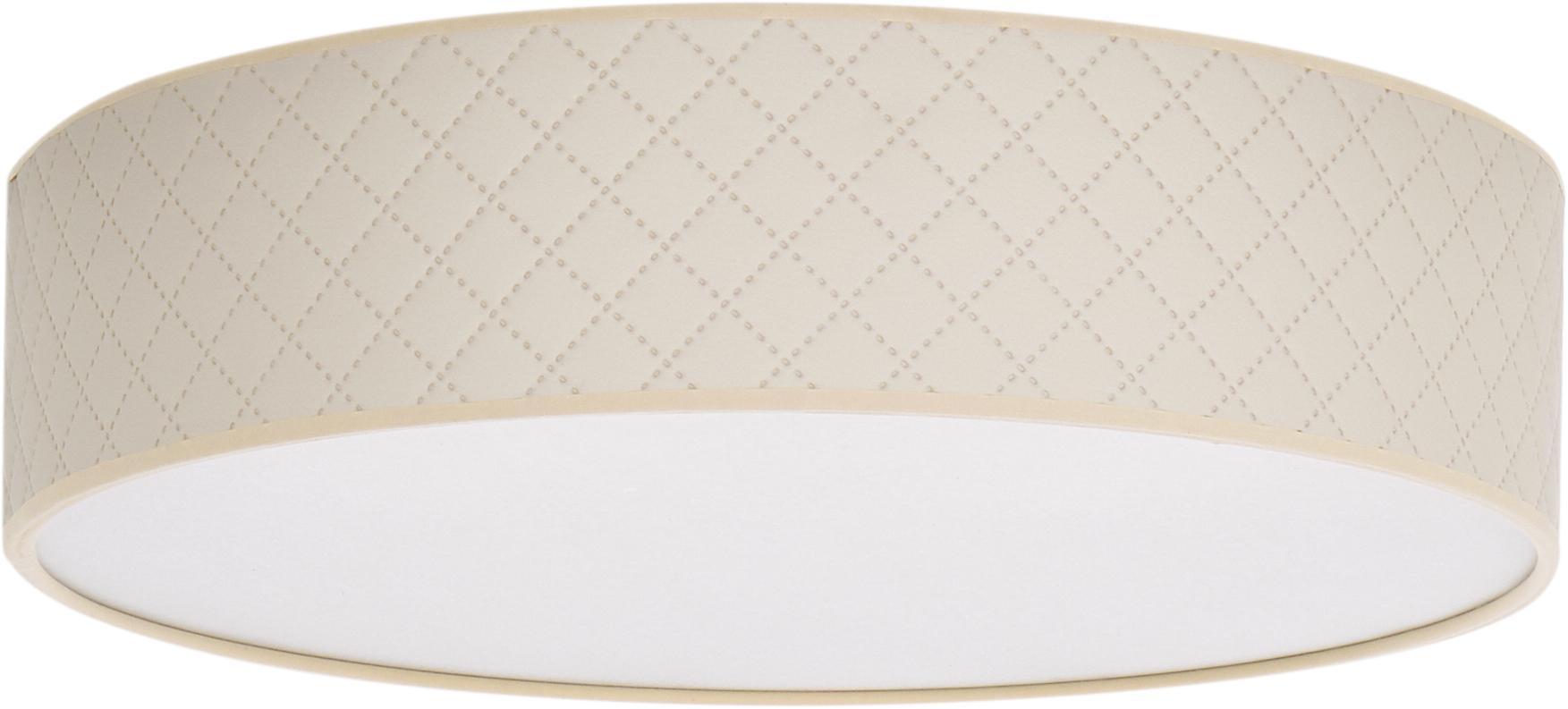 Plafondlamp Trece uit leer, Lampenkap: leer, Diffuser: papier, Crèmekleurig, Ø 40 x H 11 cm