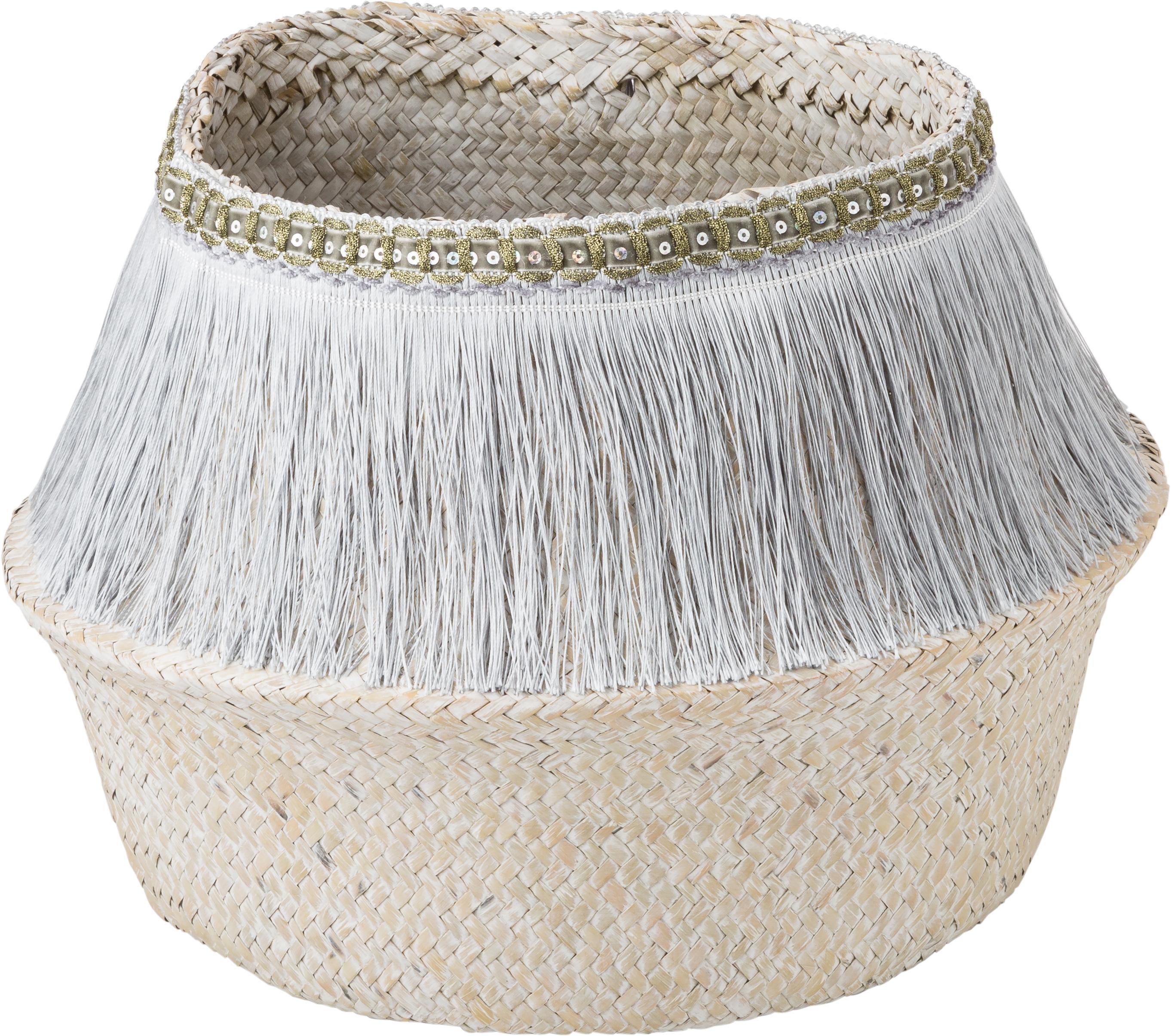 Handgemaakte opbergmand Frans, Mand: zeegras, Franjes: polyester, Zilverkleurig, wit, Ø 35 x H 25 cm