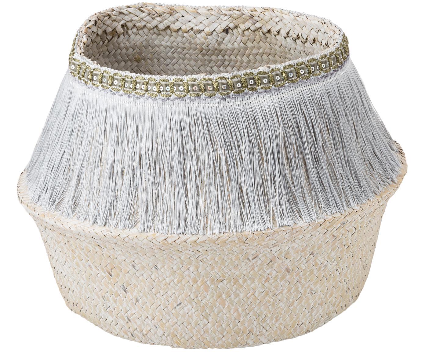 Handgefertigter Aufbewahrungskorb Frans, Korb: Seegras, Fransen: Polyester, Silberfarben, Weiss, Ø 35 x H 25 cm