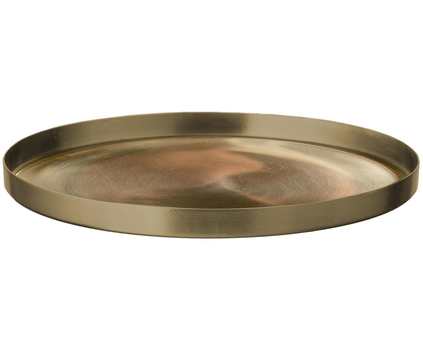 Deko-Tablett Udine, Stahl, vermessingt, Messing, Ø 15 x H 1 cm