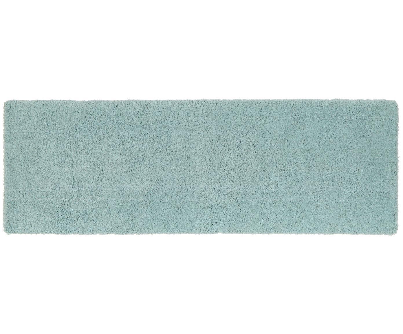 Passatoia pelosa morbida verde menta Leighton, Retro: 100% poliestere, Verde menta, Larg. 80 x Lung. 250 cm