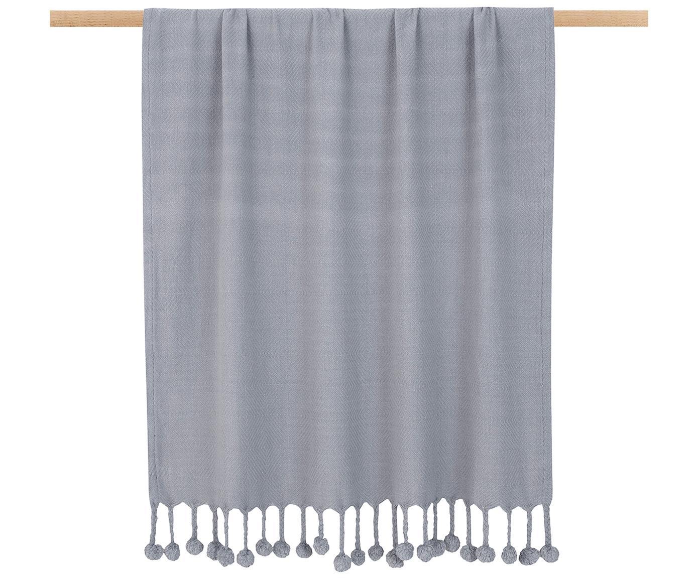 Plaid Sorbet in Grau mit Pompoms, 100% Baumwolle, Hellgrau, 130 x 170 cm