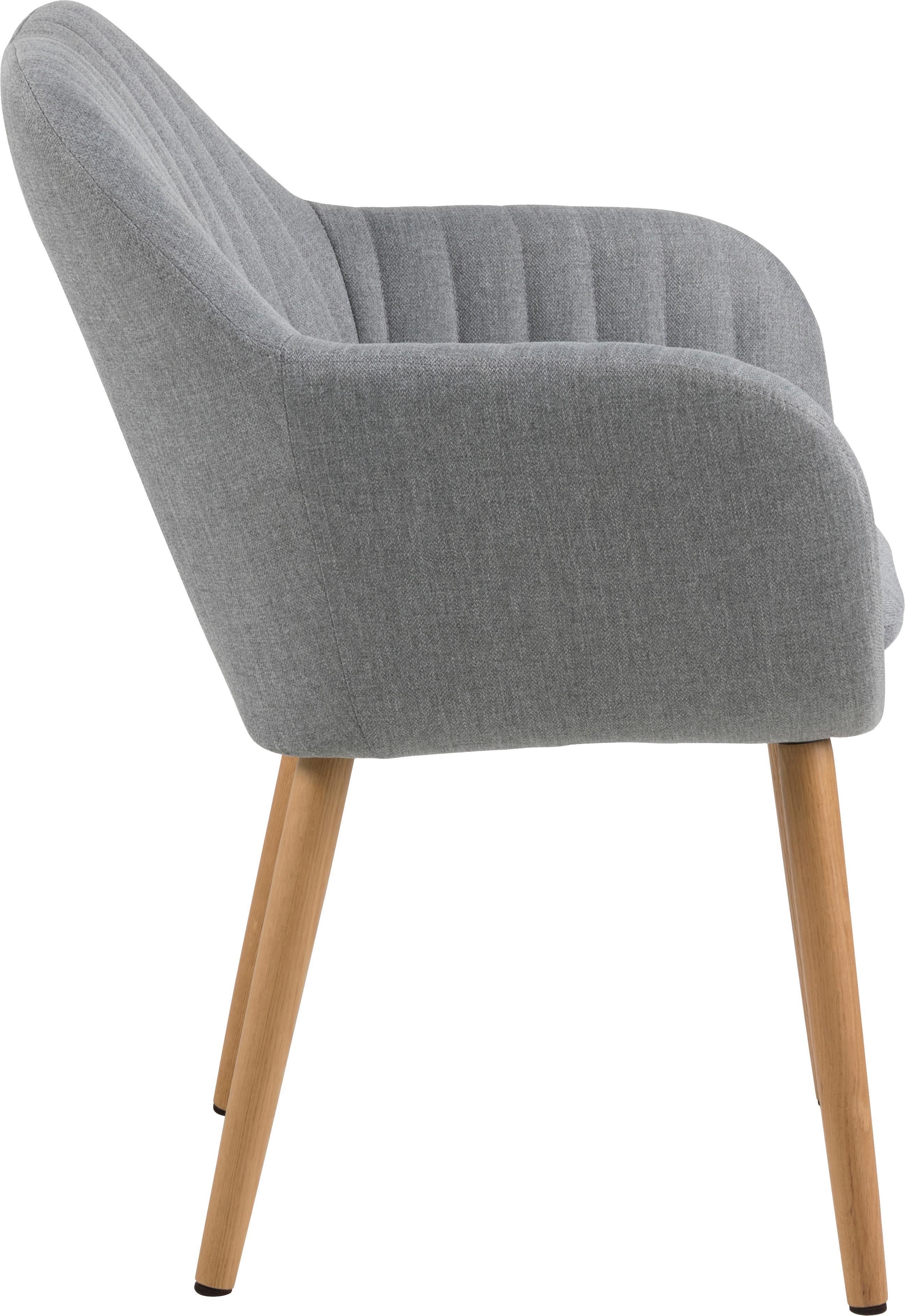 Polsterstuhl Emilia mit Armlehne, Bezug: Polyester, Beine: Eichenholz, ölbehandelt D, Webstoff Hellgrau, Beine Eiche, B 57 x T 59 cm