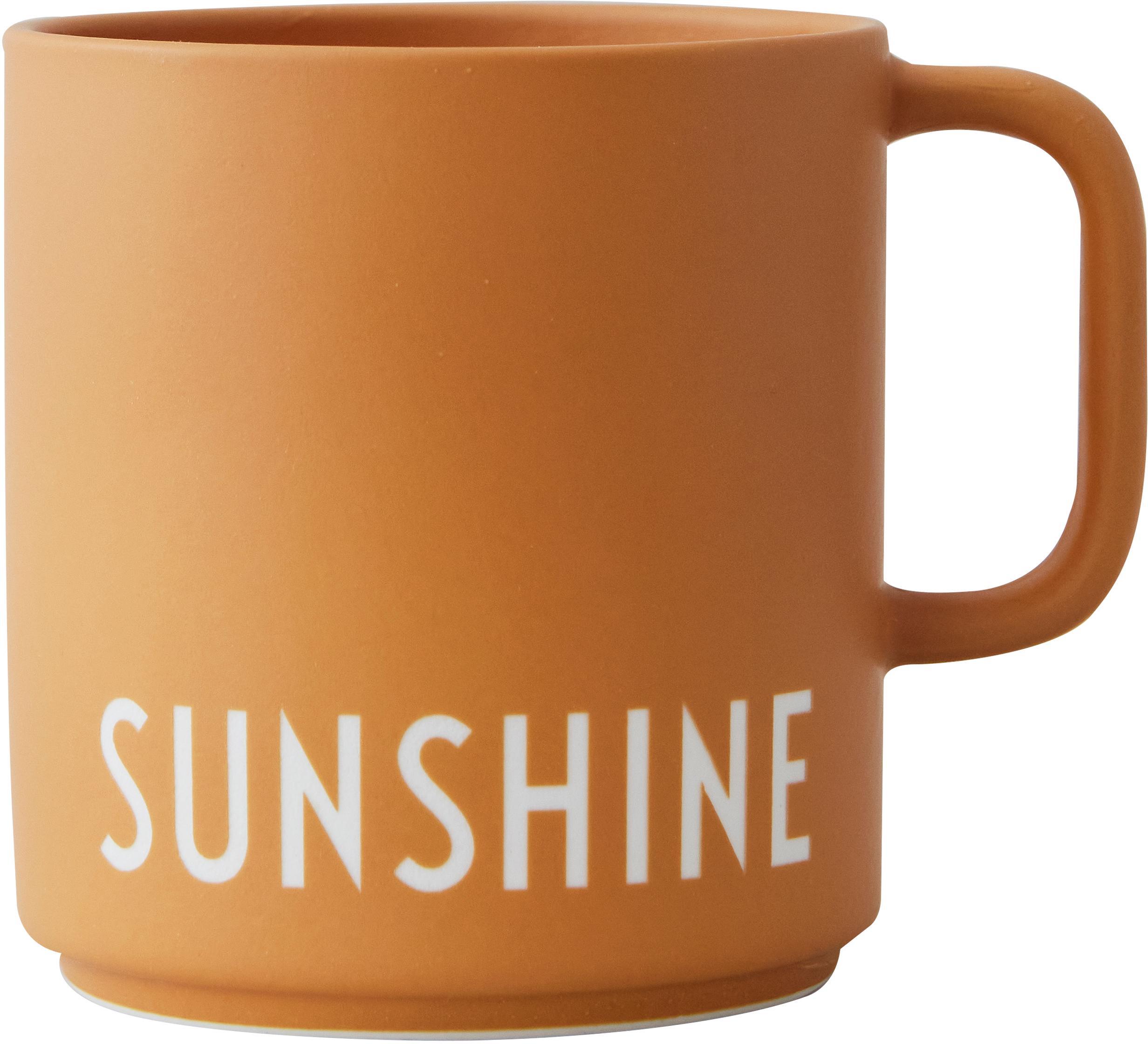 Design Kaffeetasse Favourite SUNSHINE in Senfgelb mit Schriftzug, Fine Bone China (Porzellan), Senfgelb, Weiß, Ø 10 x H 9 cm