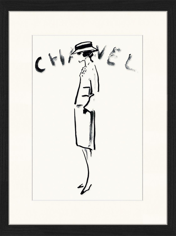 Stampa digitale incorniciata Chanel, Immagine: stampa digitale su carta,, Cornice: legno, verniciato, Nero, bianco, Larg. 33 x Alt. 43 cm