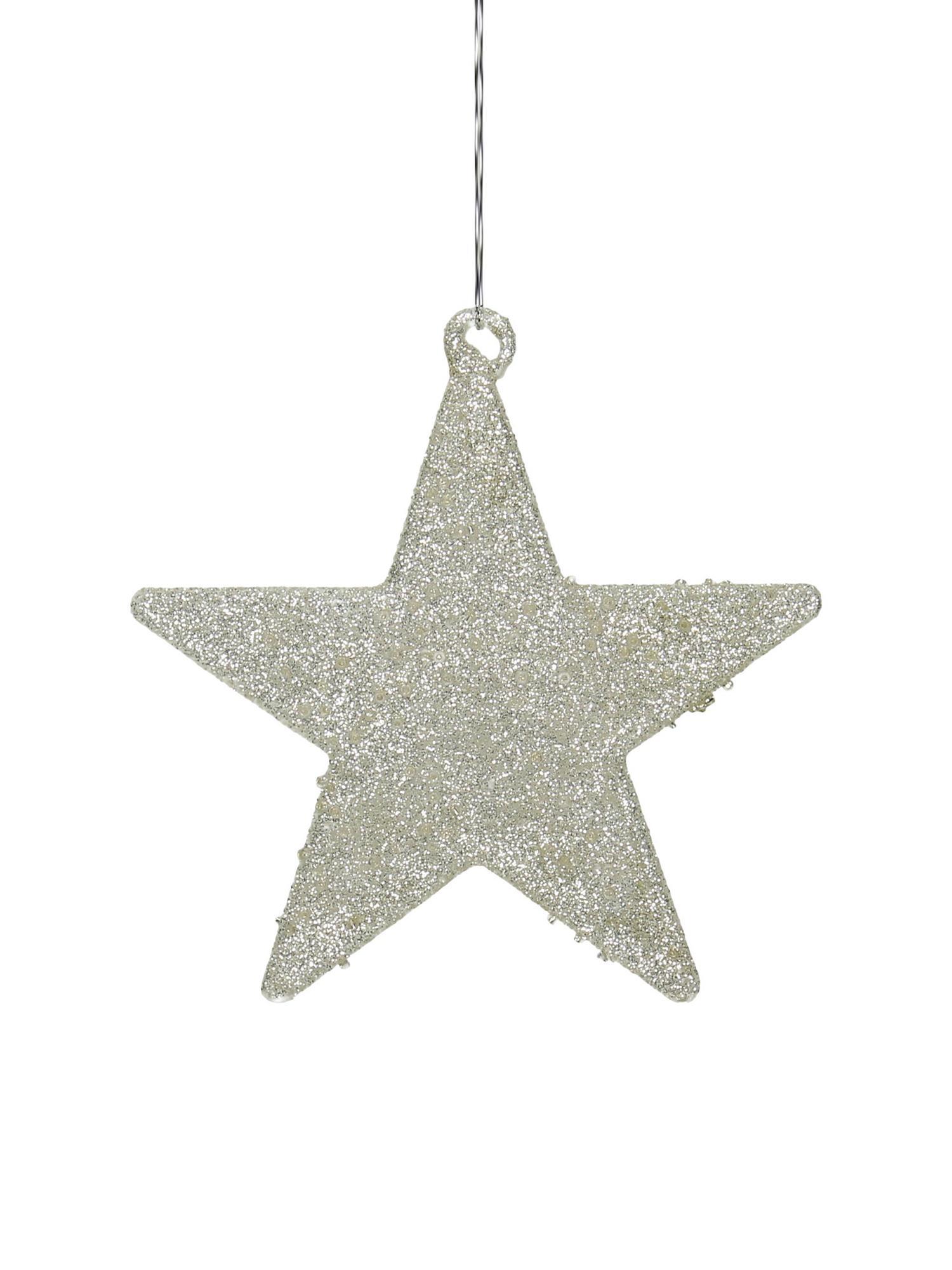 Baumanhänger-Set Silver Star, 2 Stück, Silberfarben, glänzend, 14 x 14 cm