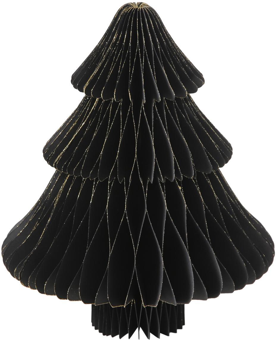 Pieza decorativa Sander, Papel, Negro, dorado, Ø 18 x Al 23 cm
