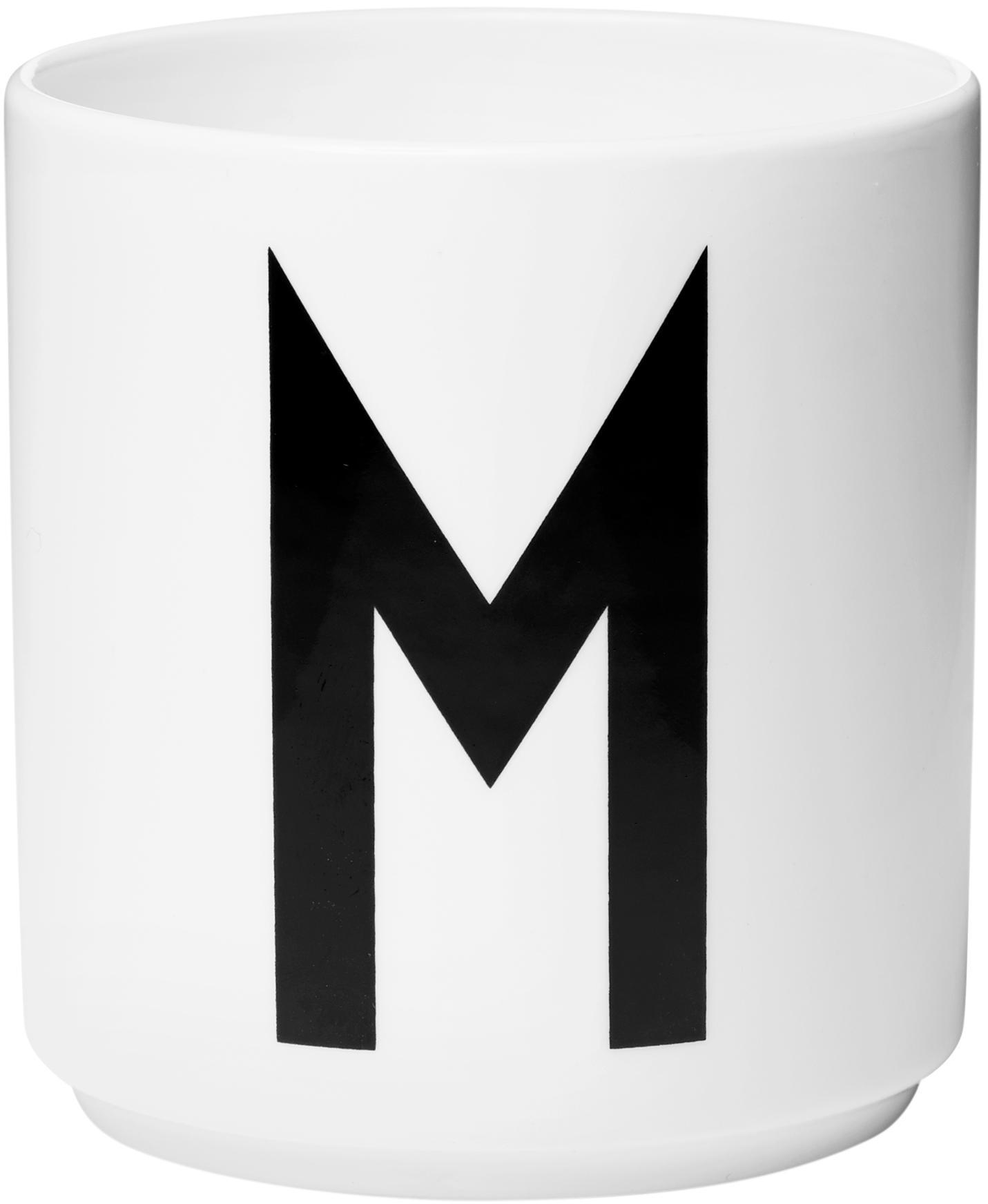 Tazza senza manico di design Personal (varianti dalla A alla Z), Fine Bone China (porcellana), Bianco, nero, Tazza M
