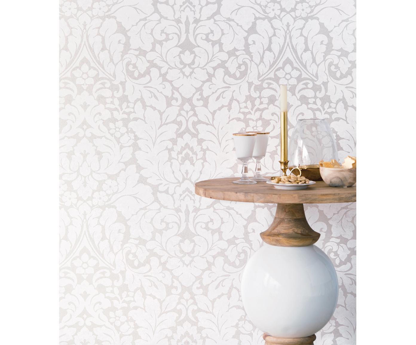 Tapete Ornament Flower, Vlies, Beige, 68 x 1000 cm