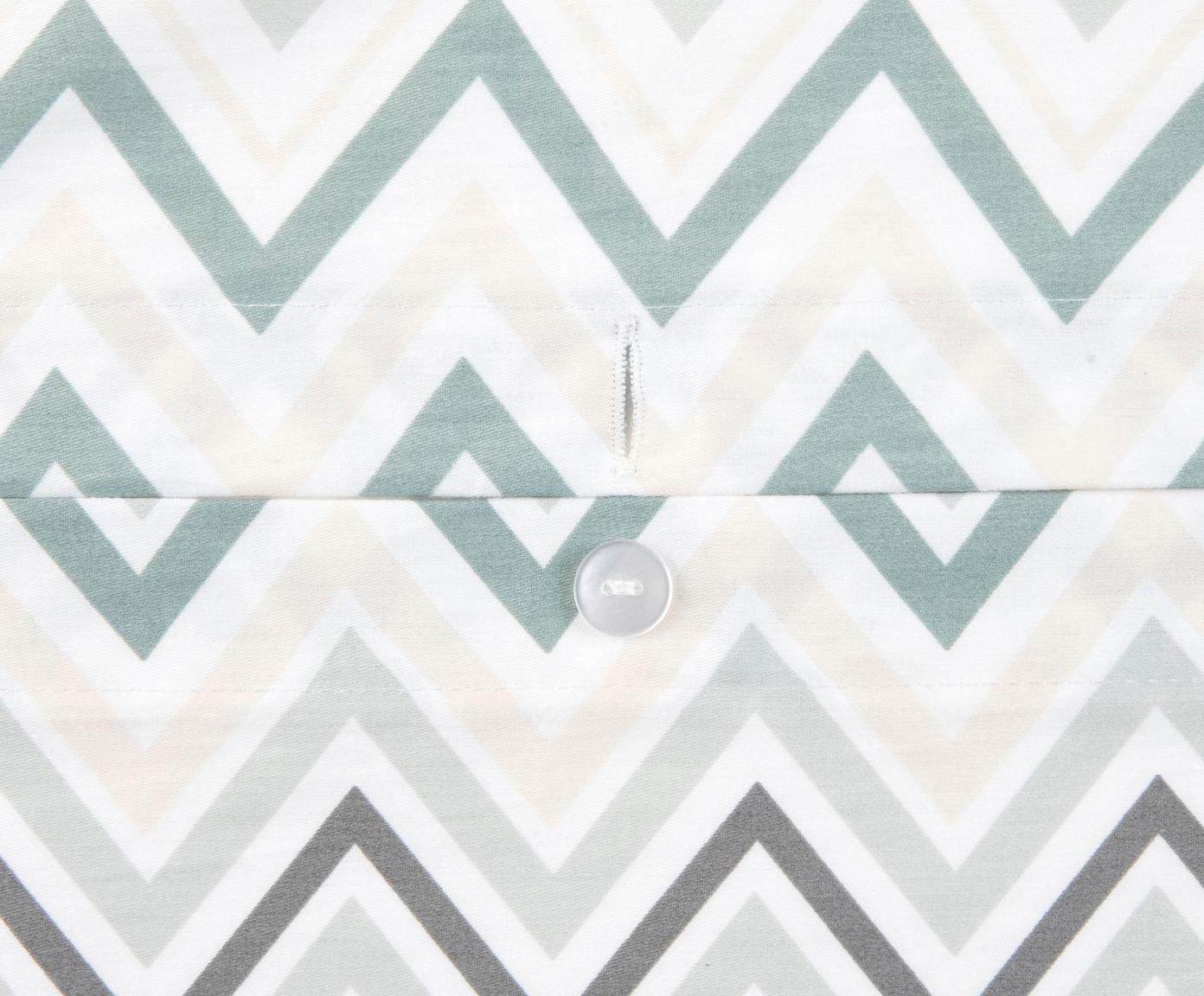 Baumwollsatin-Bettwäsche Maui mit Zickzack-Muster, Webart: Satin Fadendichte 200 TC,, Weiß, Grün, 240 x 220 cm + 2 Kissen 80 x 80 cm