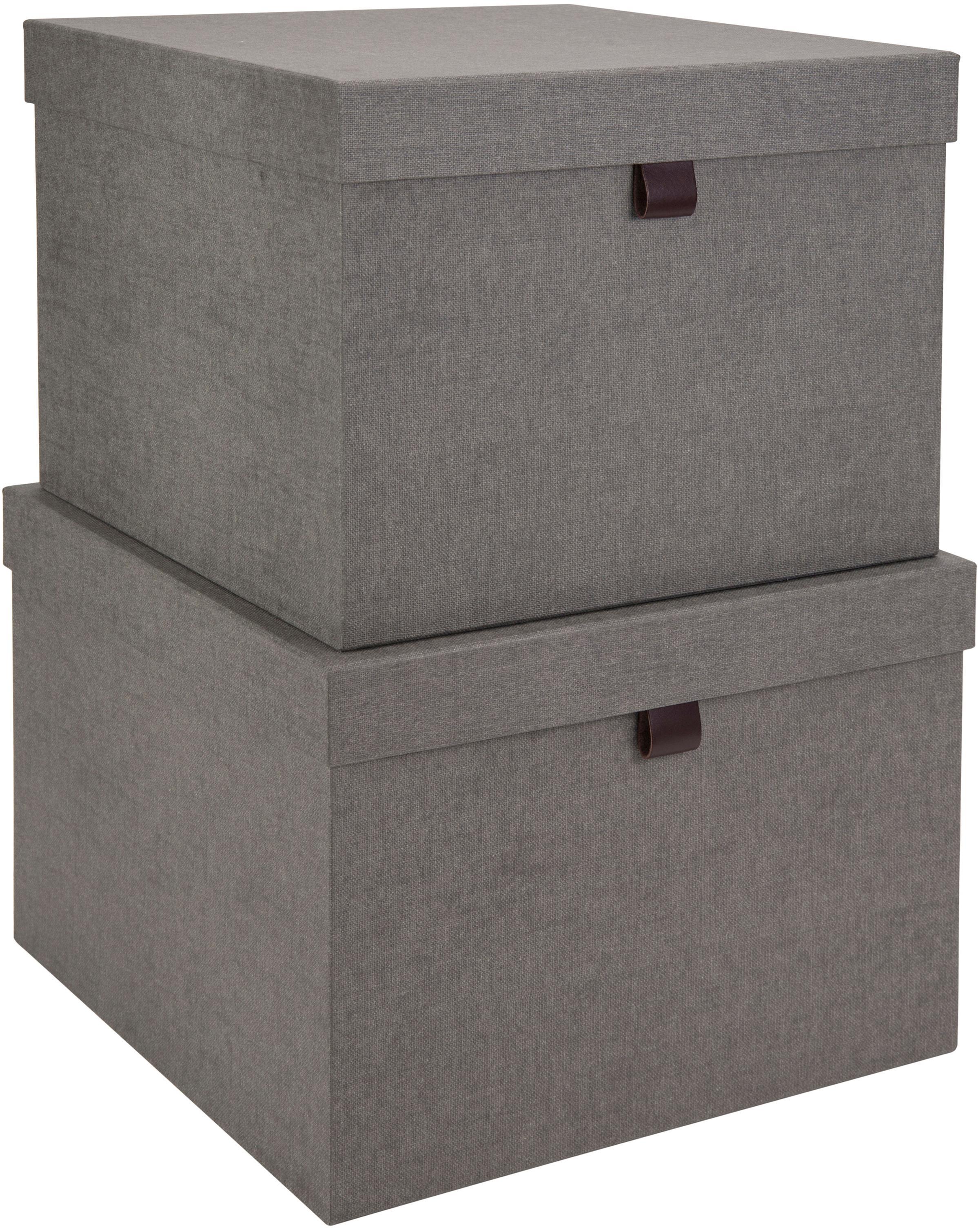 Set de cajas Tristan, 2pzas., Caja: cartón laminado, Gris, Set de diferentes tamaños