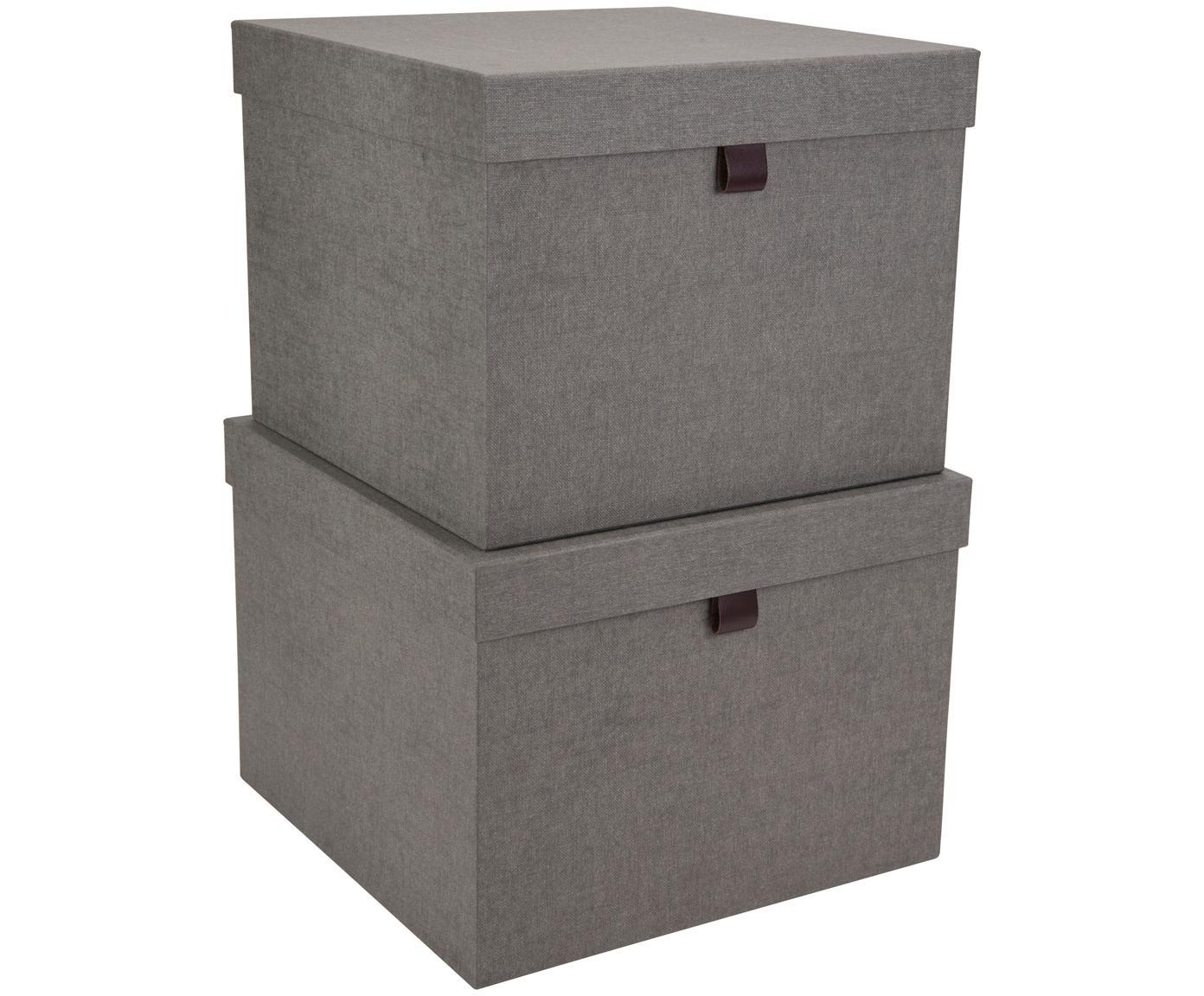 Aufbewahrungsboxen-Set Tristan, 2-tlg., Box: Fester, laminierter Karto, Griff: Leder, Grau, Verschiedene Grössen