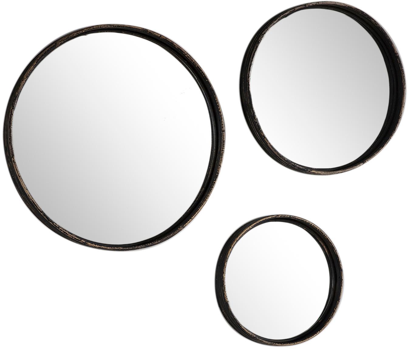 Set 3 specchi da parete con cornici Ricos, Cornice: rattan rivestito, Superficie dello specchio: lastra di vetro, Marrone scuro, nero, Diverse dimensioni