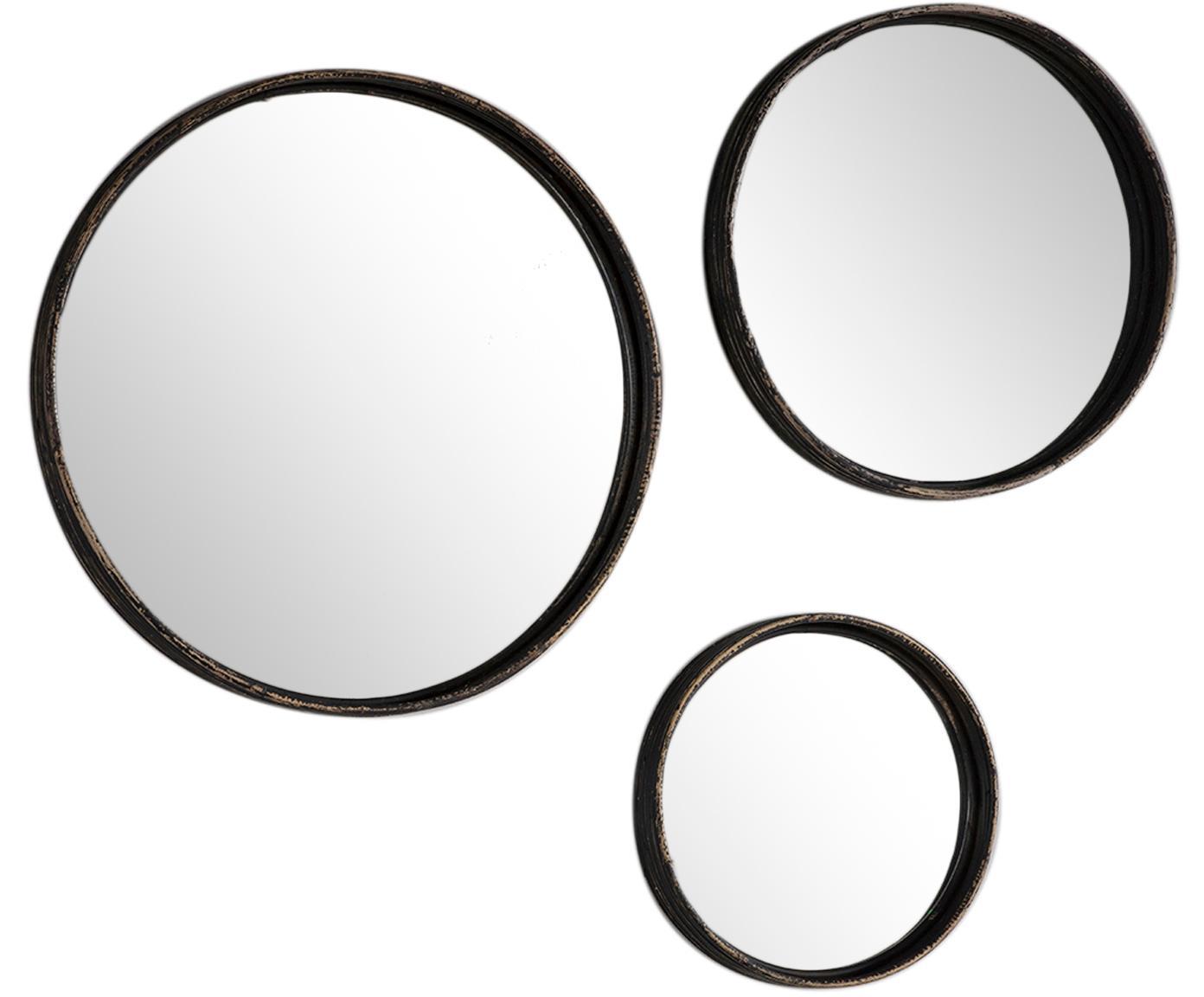 Set de espejos de pared redondos Ricos, 3pzas., Espejo: cristal, Marrón oscuro, negro, Tamaños diferentes