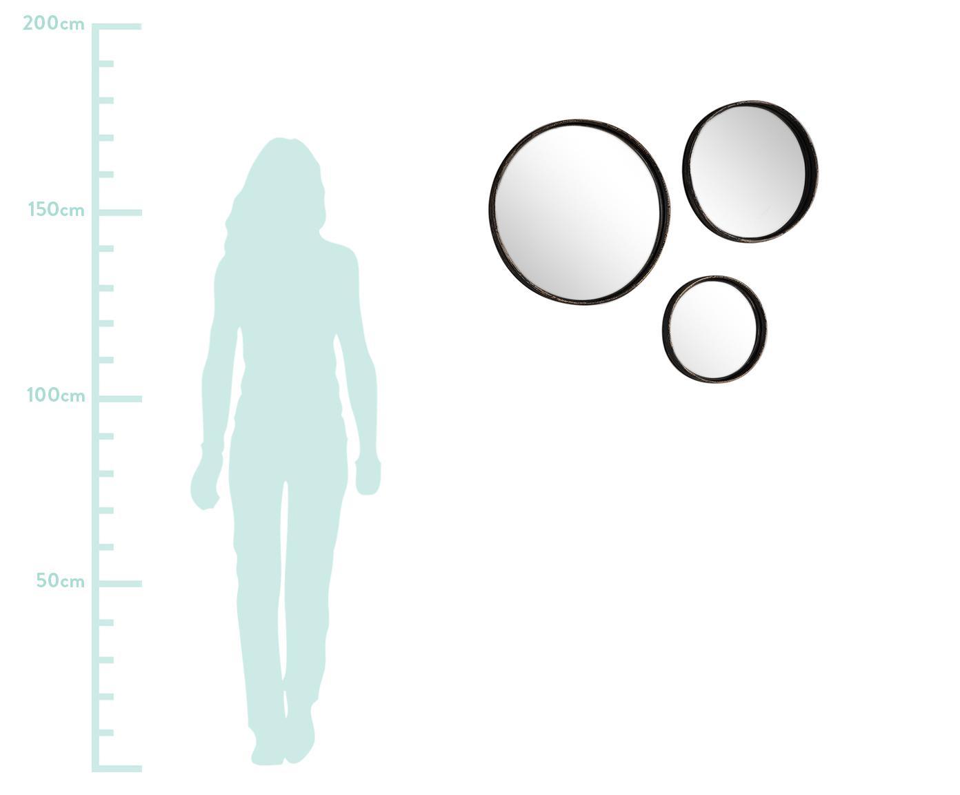 Komplet okrągłych luster ściennych Ricos, 3 elem., Ciemnobrązowy, czarny, Różne rozmiary
