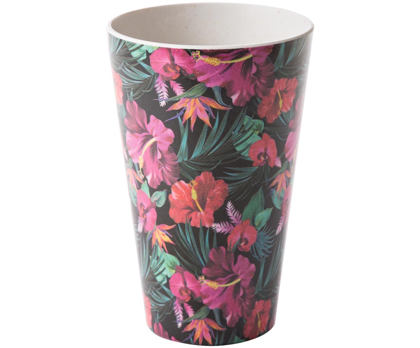 Bambus-Becher Tropical Flower, 55%Bambusfasern, 25%Maisstärke, 15%Melamin, Grüntöne, Fuchsienfarben, Rot, Weiß, Ø 9 x H 13 cm