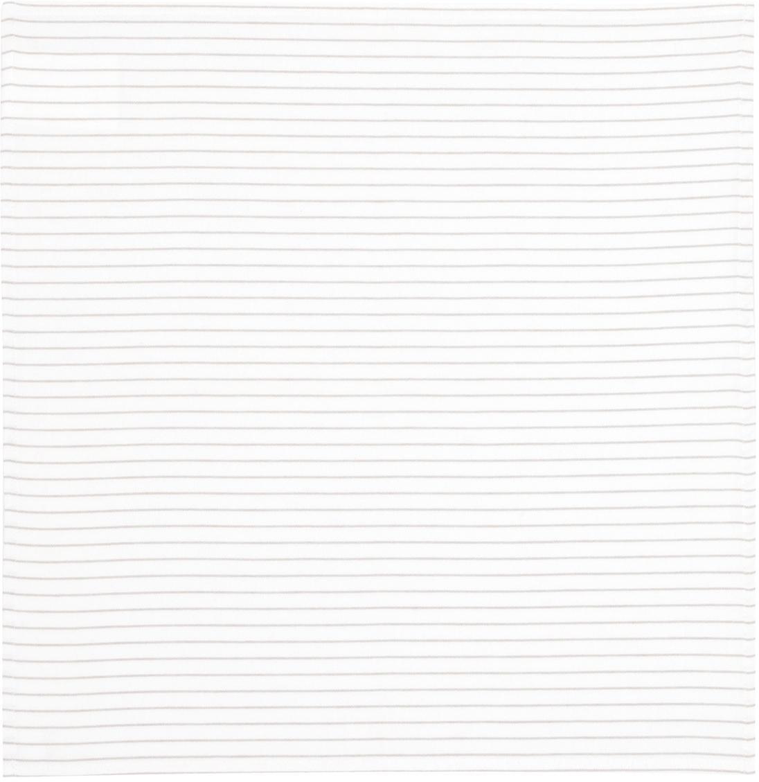 Stoffen servetten Nicole, 2 stuks, Katoen, Wit, beige, 50 x 50 cm