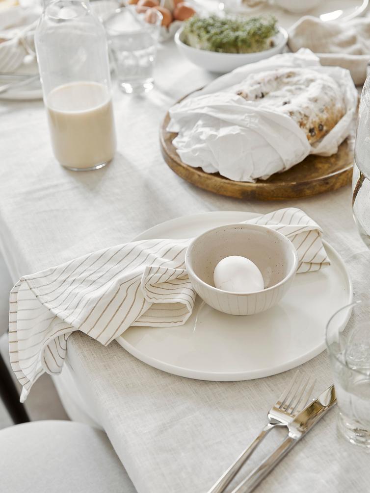 Serviettes de table en coton Nicole, 2 pièces, Blanc, beige