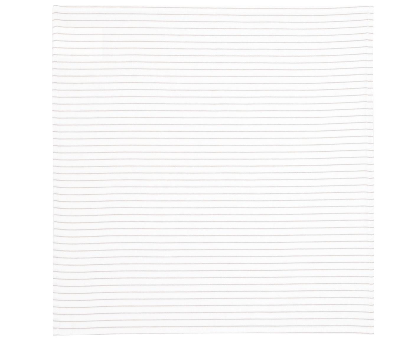 Baumwoll-Servietten Nicole, 2 Stück, Baumwolle, Weiss, Beige, 50 x 50 cm