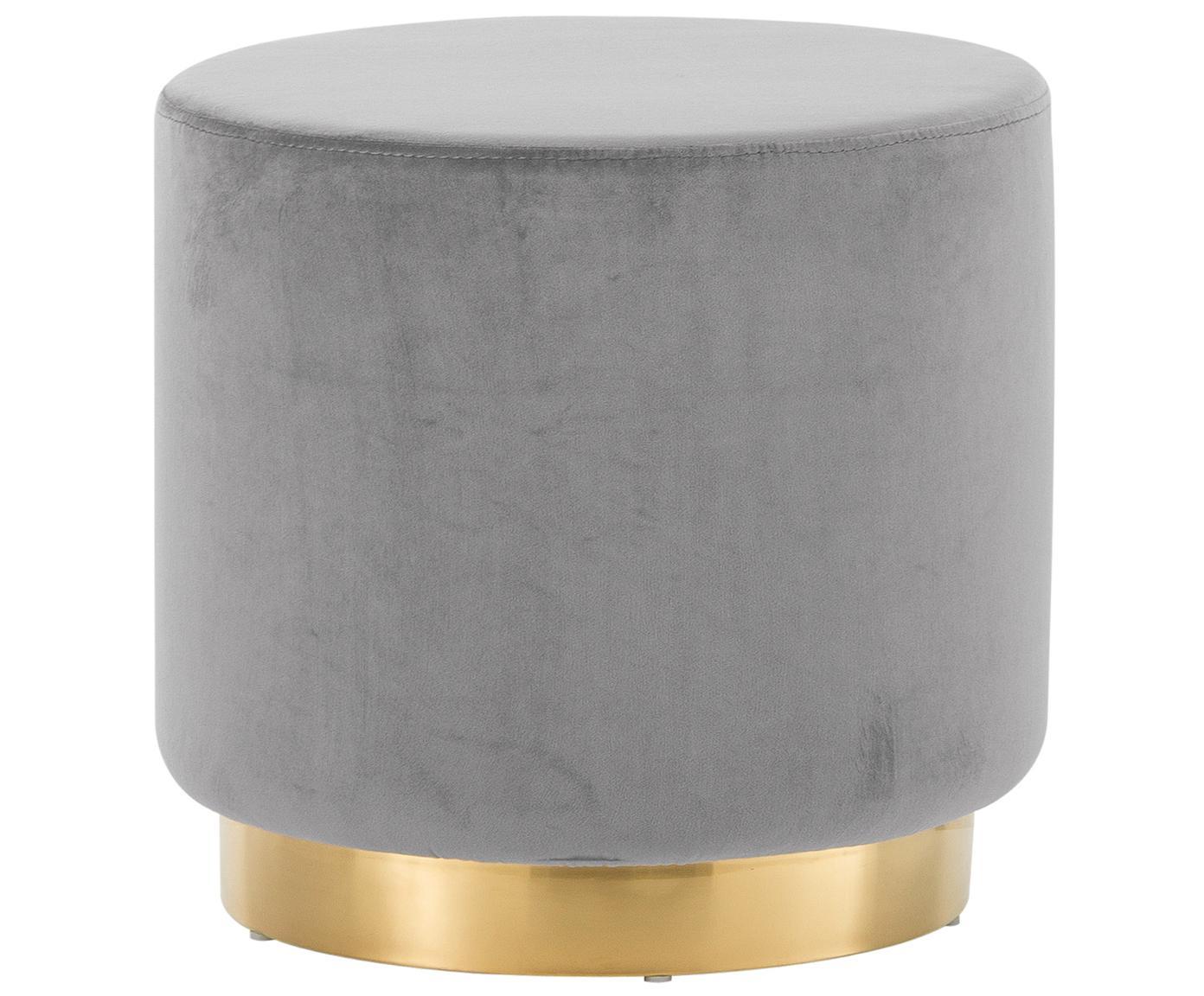 Fluwelen poef Orchid, Bekleding: fluweel (polyester), Frame: MDF, Voet: gecoat metaal, Bekleding: grijs. Voet: goudkleurig, Ø 40 x H 39 cm