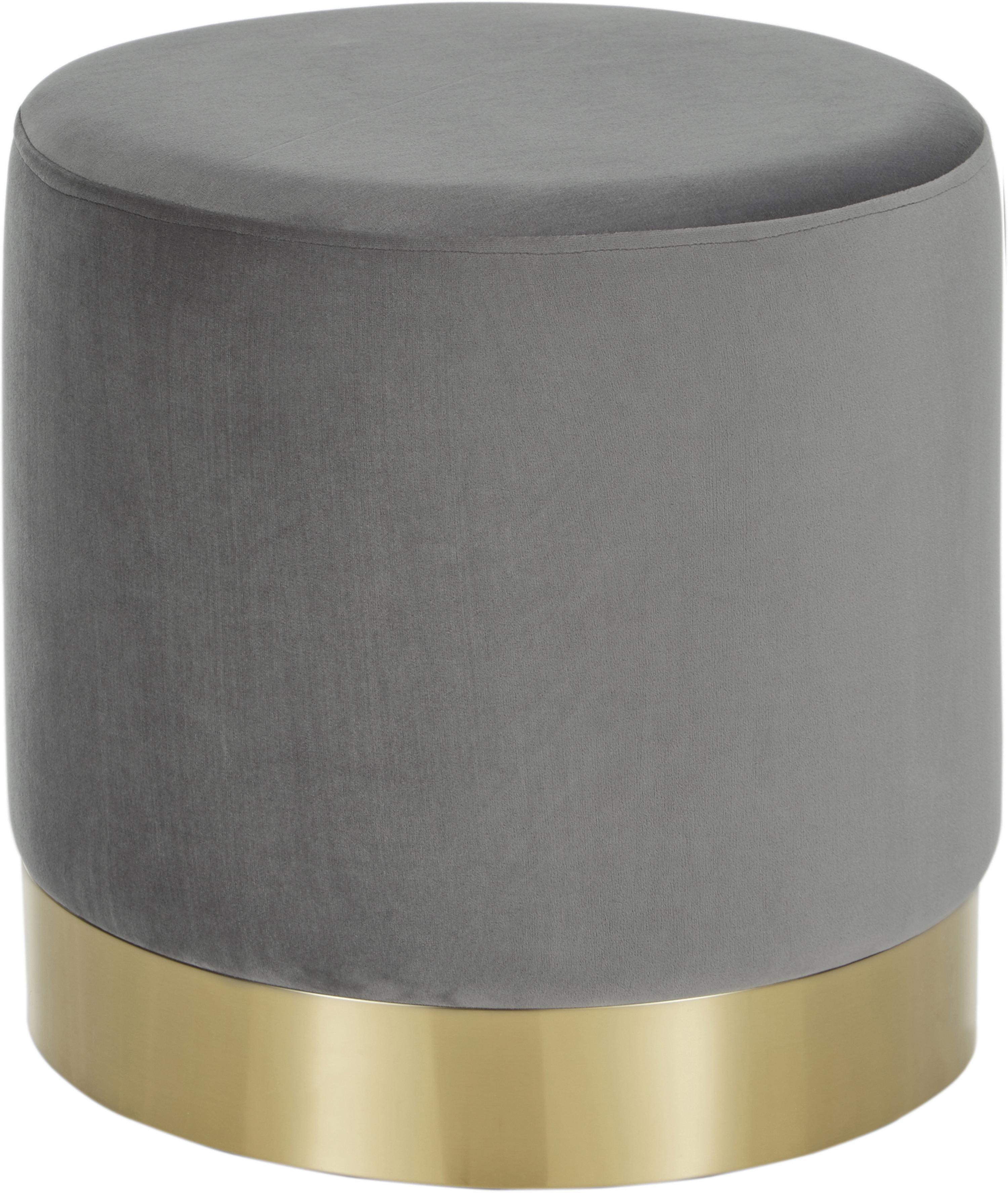 Puf de terciopelo Orchid, Tapizado: terciopelo (poliéster) Al, Estructura: tablero de fibras de dens, Gris, dorado, Ø 40 x Al 39 cm