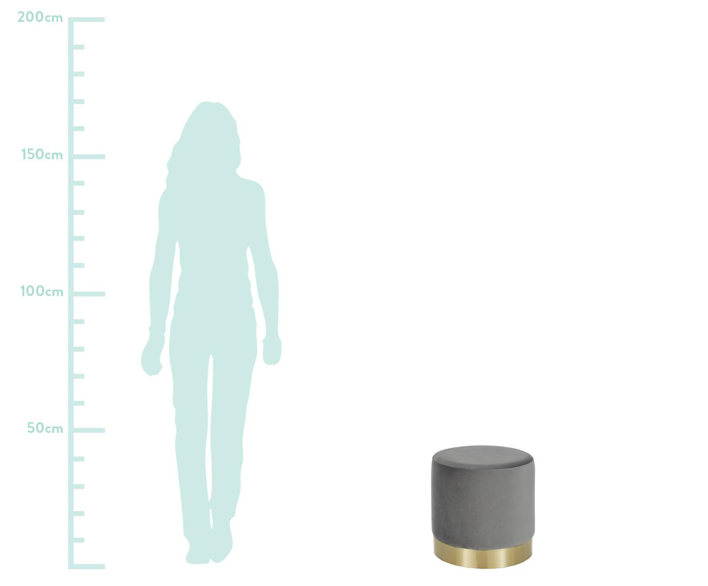 Samt-Hocker Orchid, Bezug: Samt (Polyester) Der hoch, Rahmen: Sperrholz, Bezug: Grau Fuß: Goldfarben, Ø 38 x H 38 cm