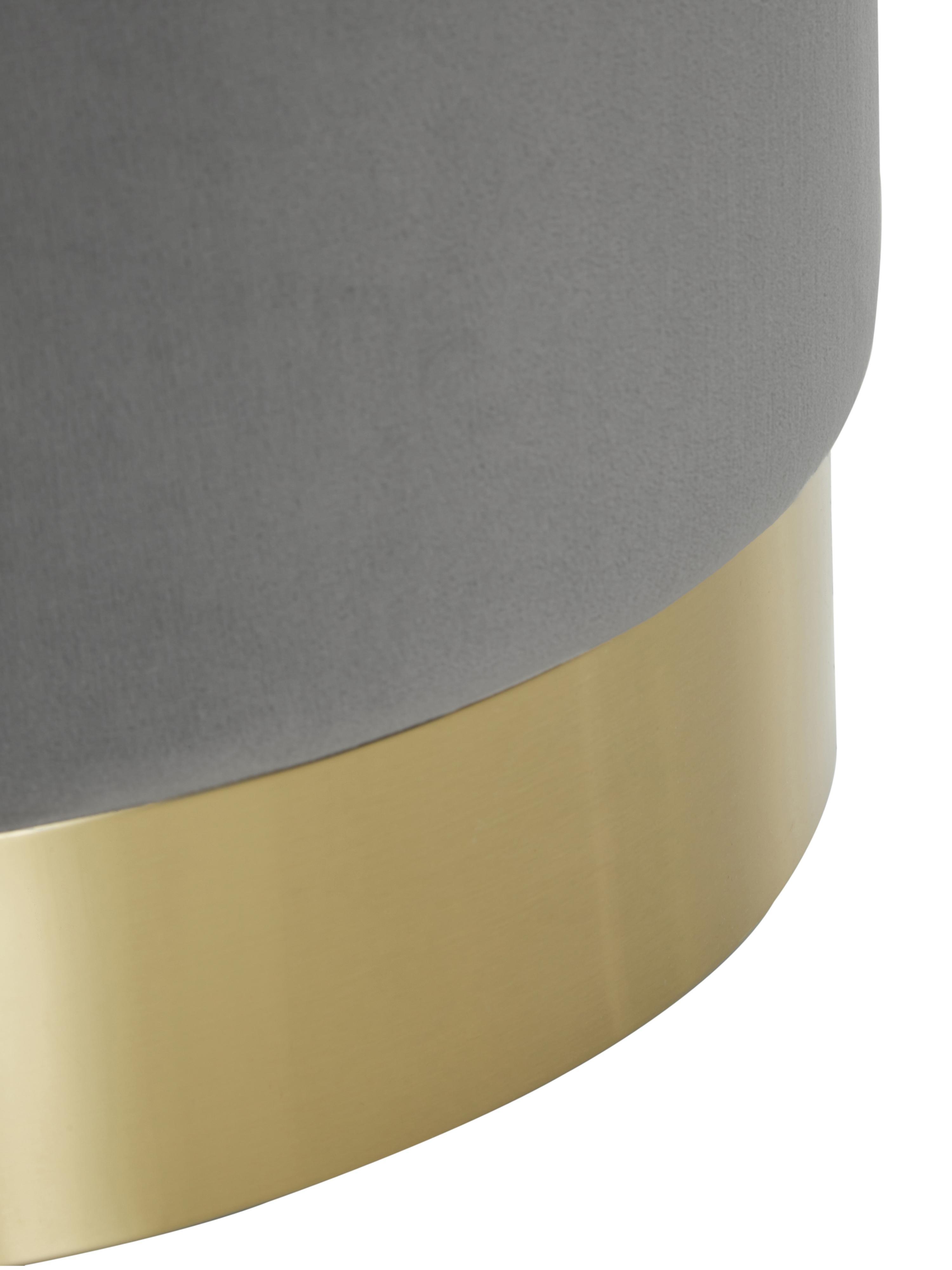Fluwelen poef Orchid, Bekleding: fluweel (polyester), Frame: multiplex, Voet: gecoat metaal, Bekleding: grijs. Voet: goudkleurig, Ø 40 x H 39 cm