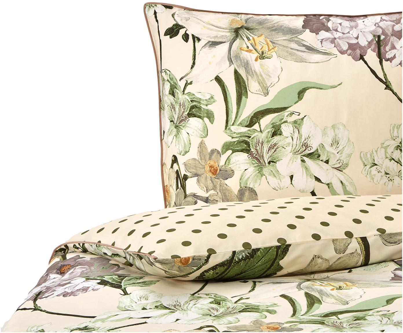 Baumwollsatin-Wendebettwäsche Rosalee mit Blumen-Muster, Webart: Satin Fadendichte 215 TC,, Creme, Mehrfarbig, 135 x 200 cm + 1 Kissen 80 x 80 cm