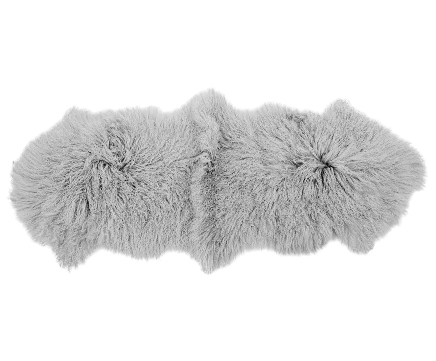 Langharige schapenvacht Ella, gekruld, Bovenzijde: Mongoolse schapenvacht, Onderzijde: leer, Lichtgrijs, 50 x 160 cm