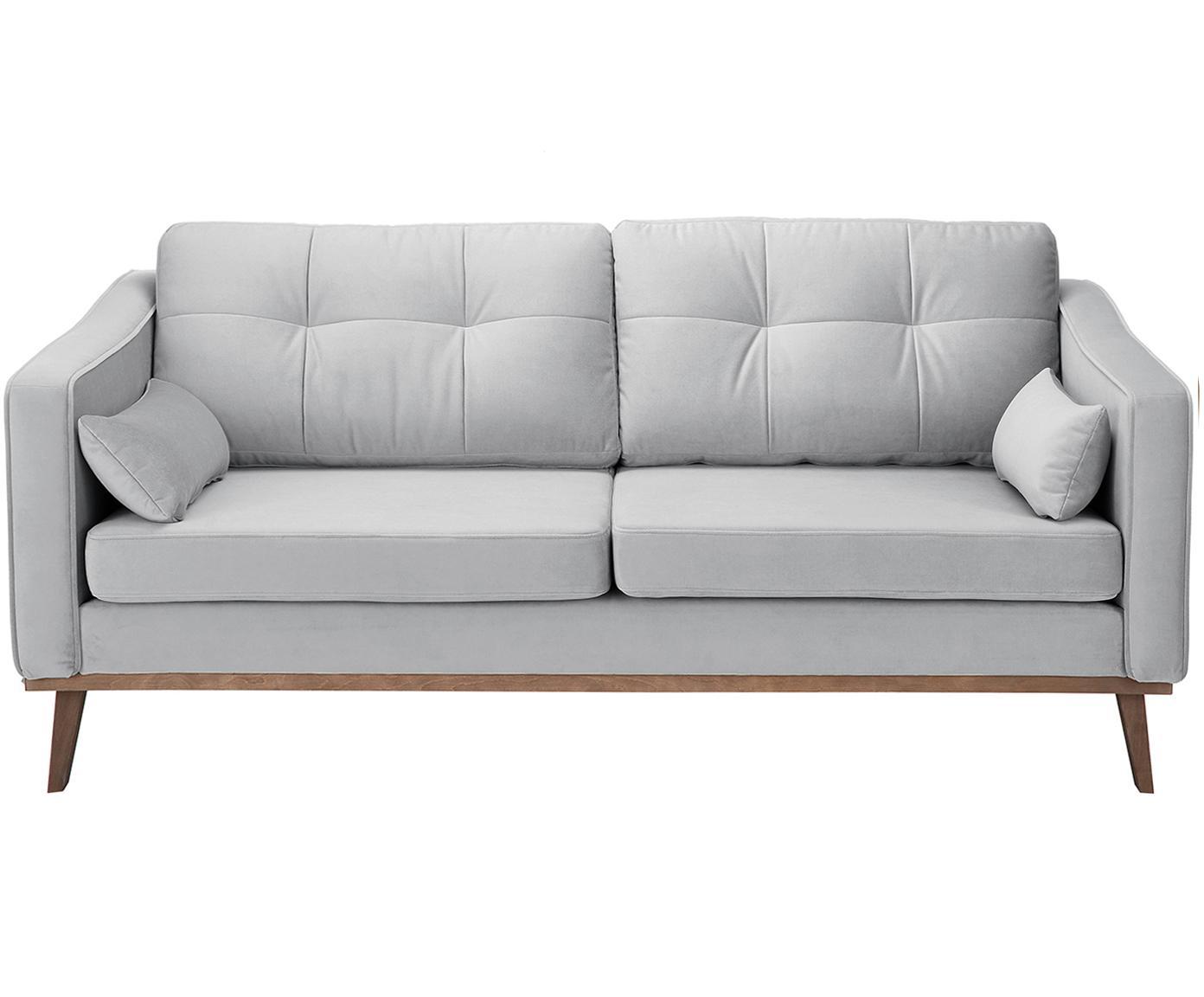 Sofa z aksamitu Alva (2-osobowa), Tapicerka: aksamit (wysokiej jakości, Stelaż: drewno sosnowe, Nogi: lite drewno bukowe, barwi, Szary, S 184 x G 92 cm