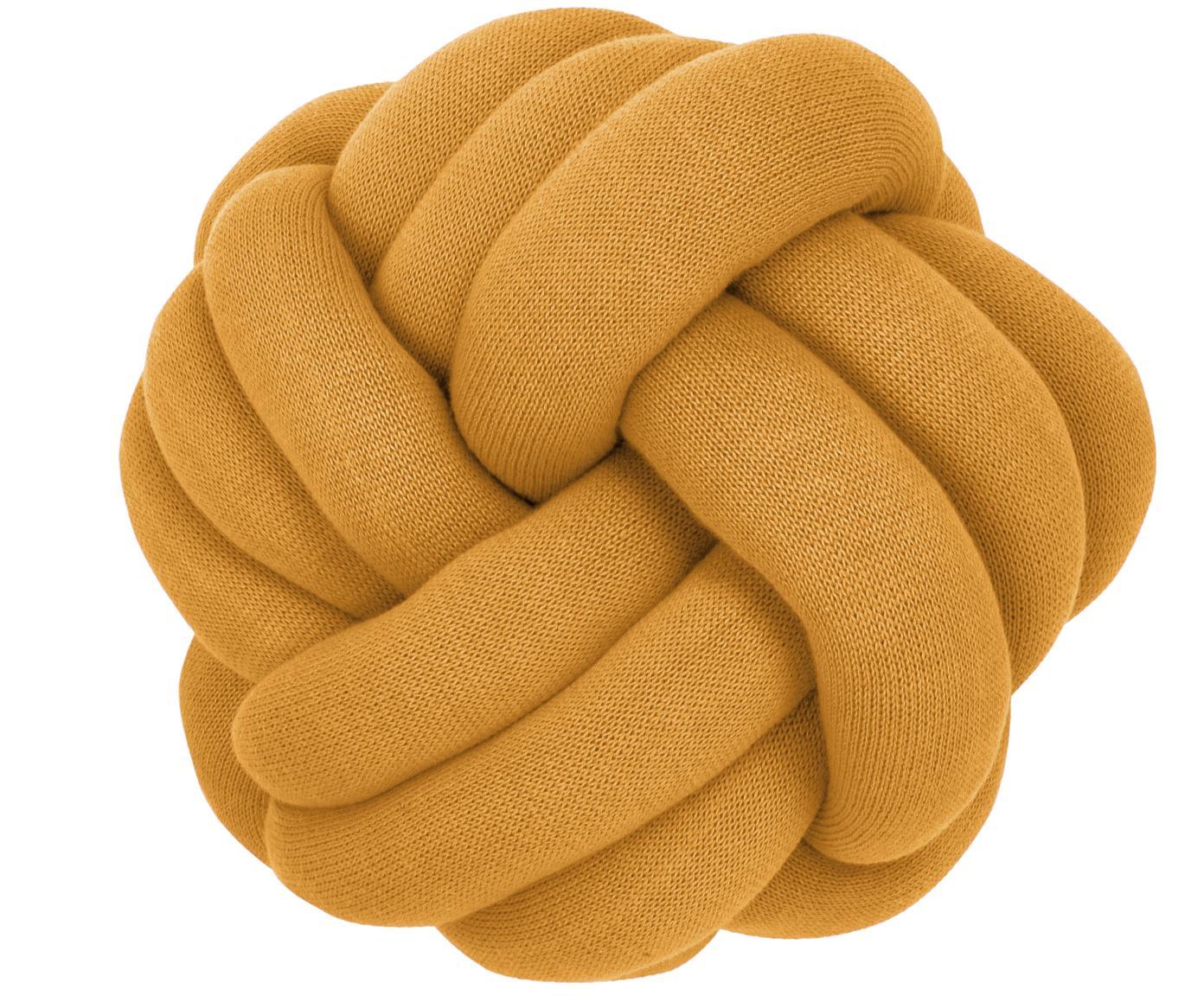 Knoten-Kissen Twist in Senfgelb, Senfgelb, Ø 30 cm