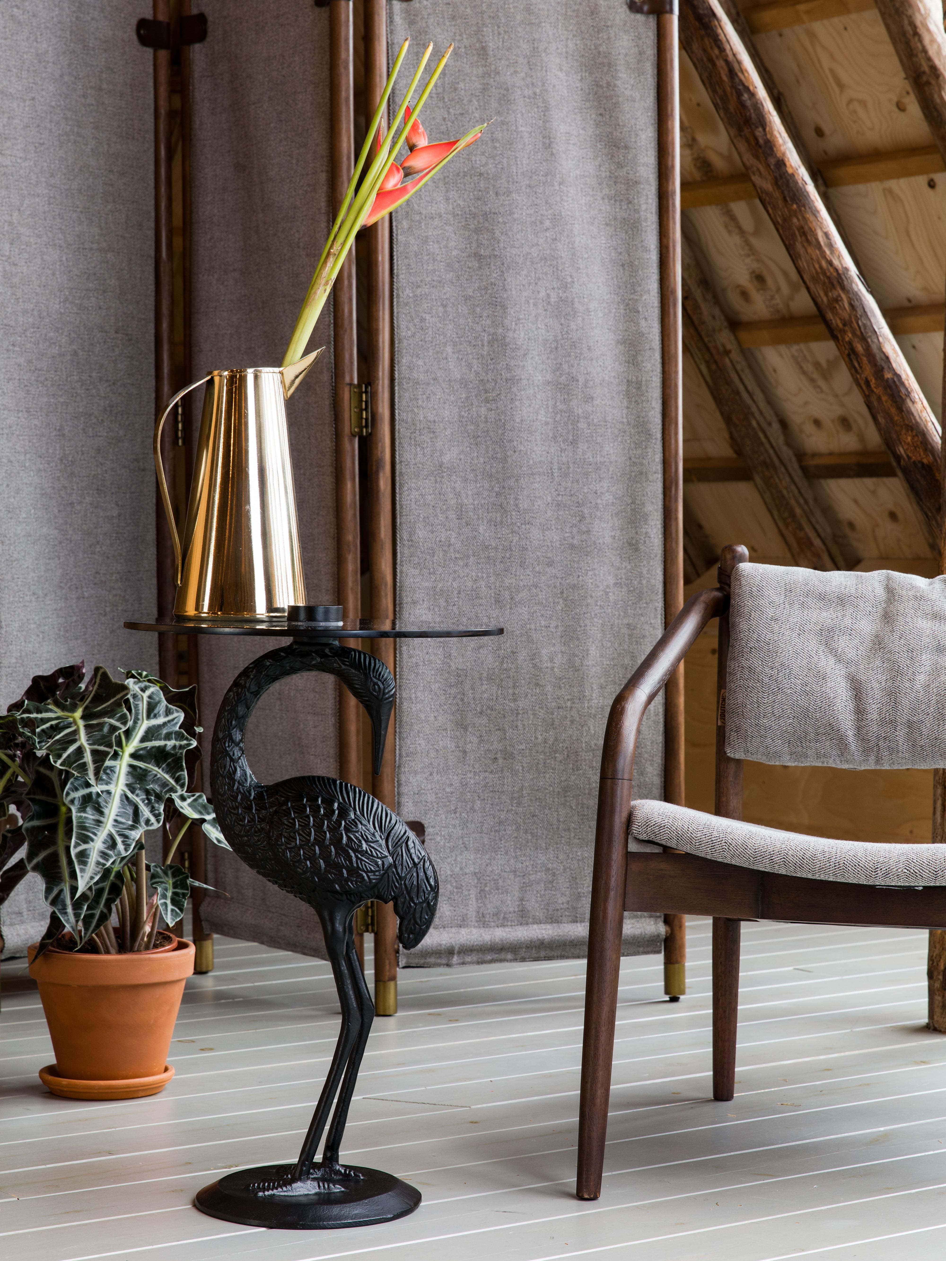 Tavolino con piano in vetro Crane, Piano d'appoggio: vetro, colorato, Struttura: alluminio verniciato a po, Nero, Ø 40 x Alt. 63 cm