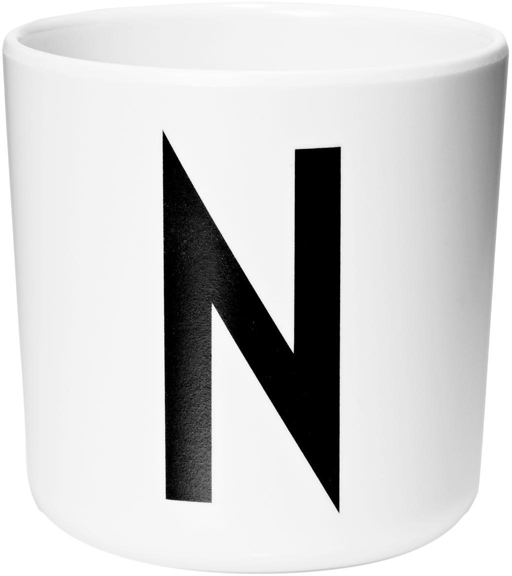 Tazza per bambini Alphabet (varianti dalla A alla Z), Melamina, Bianco, nero, Tazza N