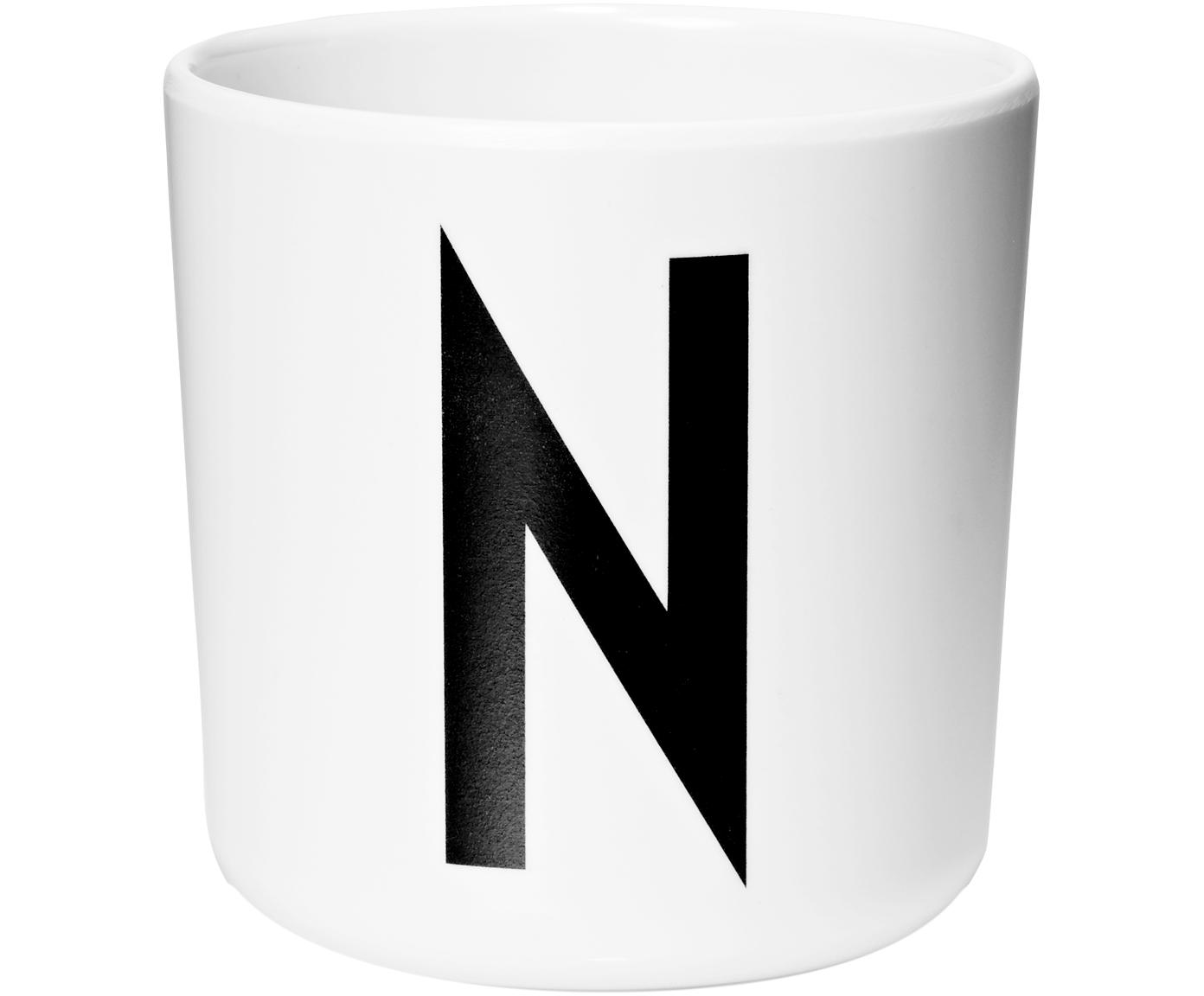 Taza Alphabet (variantes de A a Z), Melamina, Blanco, negro, Taza N