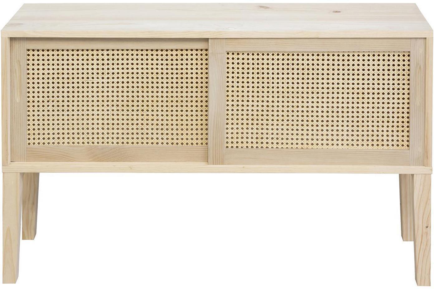 Aparador de madera de pino Rejilla, Beige, An 115 x Al 68 cm