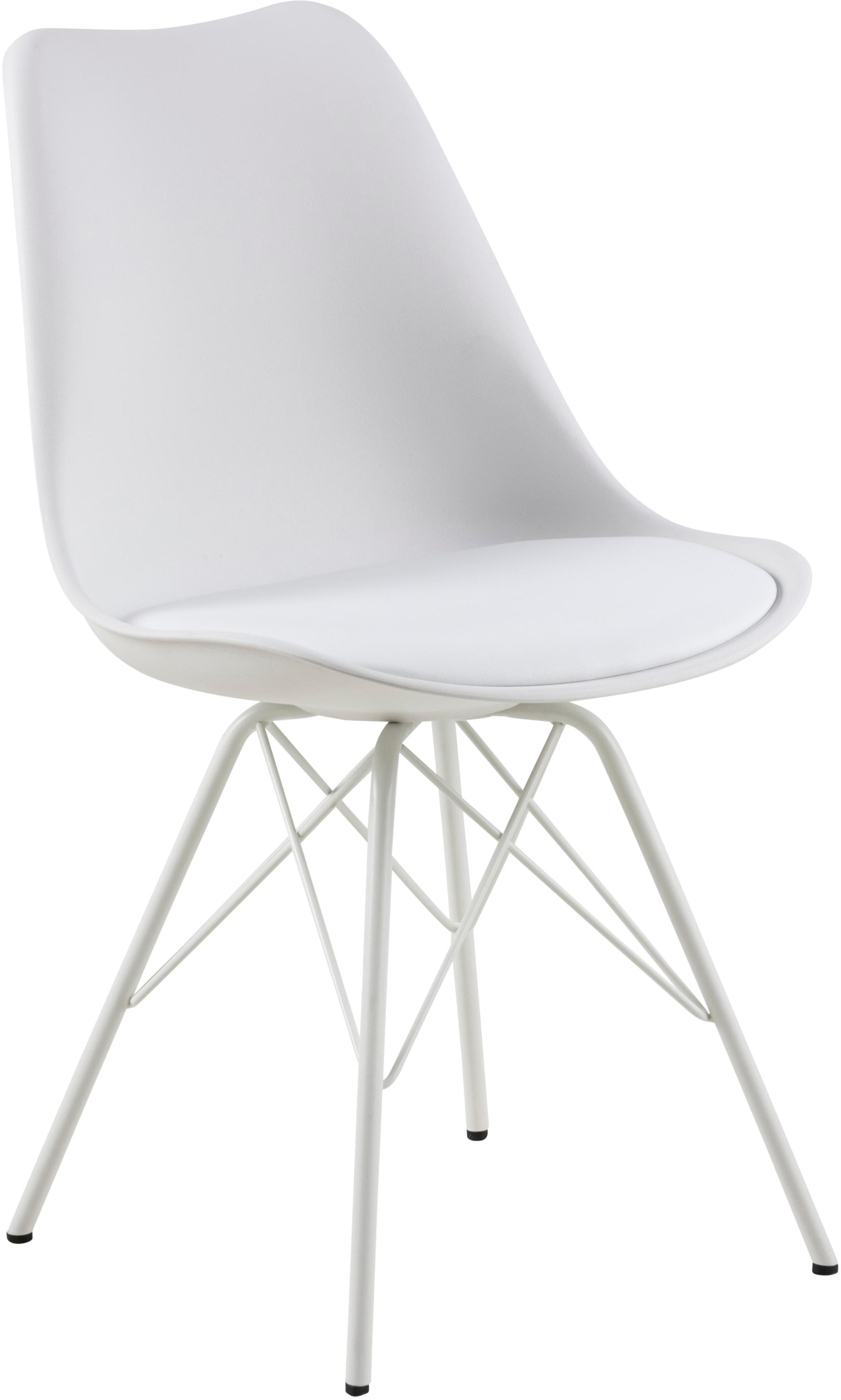 Kunststoff-Stühle Eris, 2 Stück, Sitzschale: Kunststoff, Beine: Metall, pulverbeschichtet, Weiss, B 49 x T 54 cm