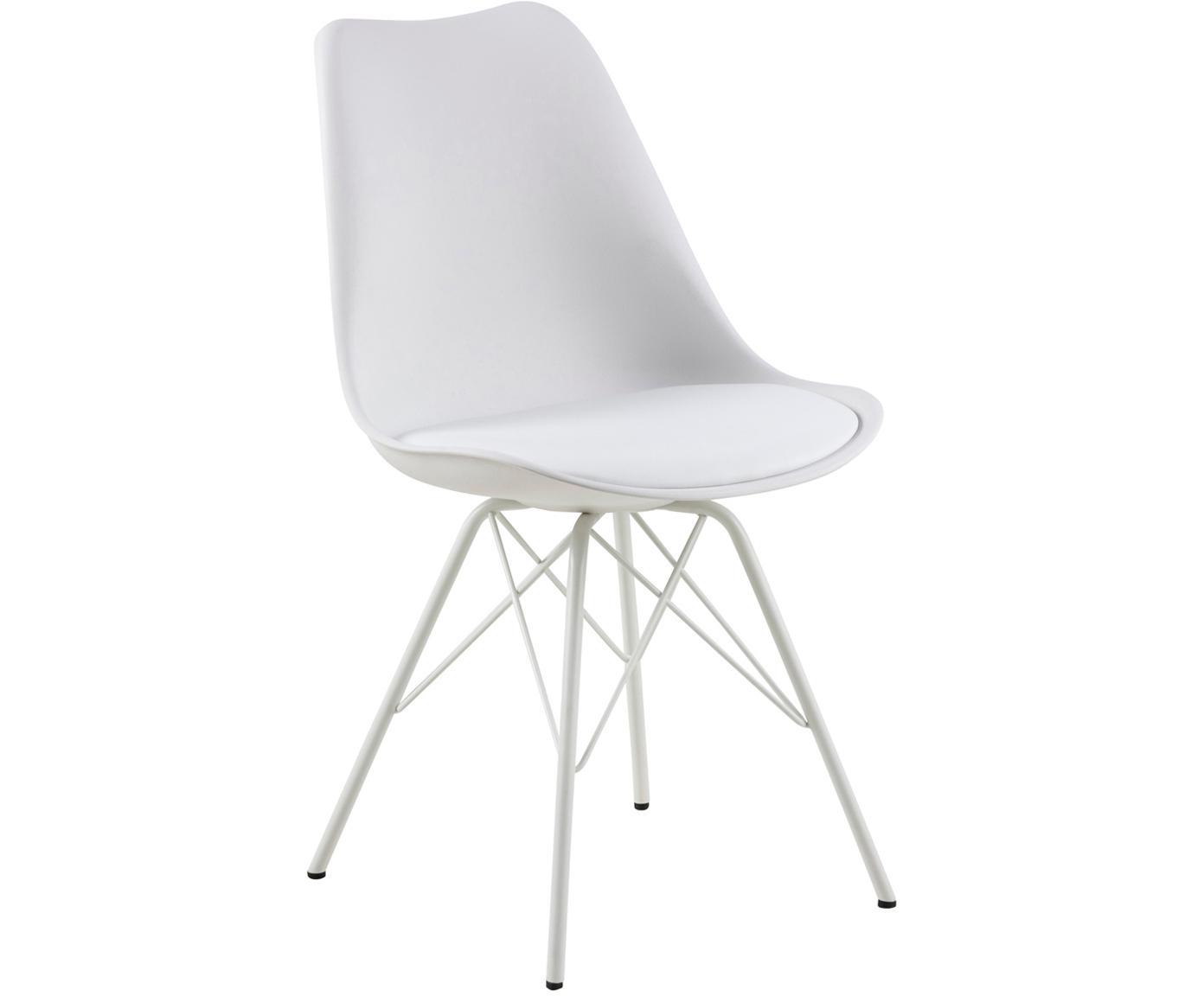 Kunststoffen stoelen Eris, 2 stuks, Zitvlak: kunststof, Poten: gepoedercoat metaal, Wit, B 49  x D 54 cm