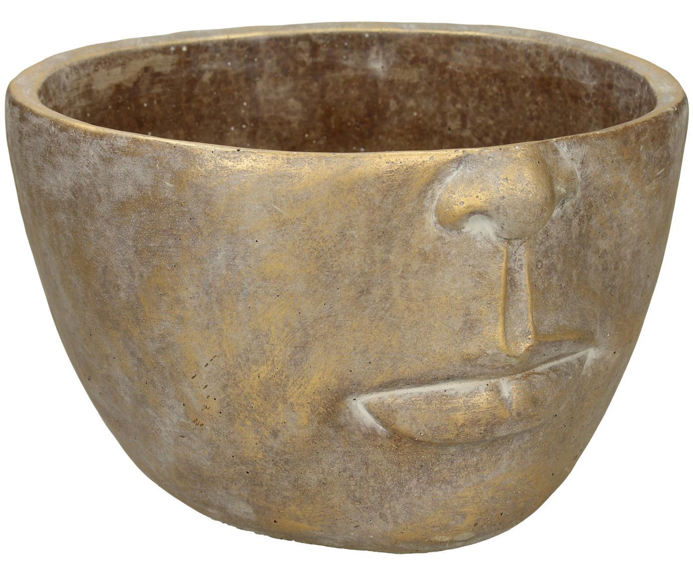 Osłonka na doniczkę Golden Face, Beton, Odcienie złotego z antycznym wykończeniem, S 23 x W 14 cm