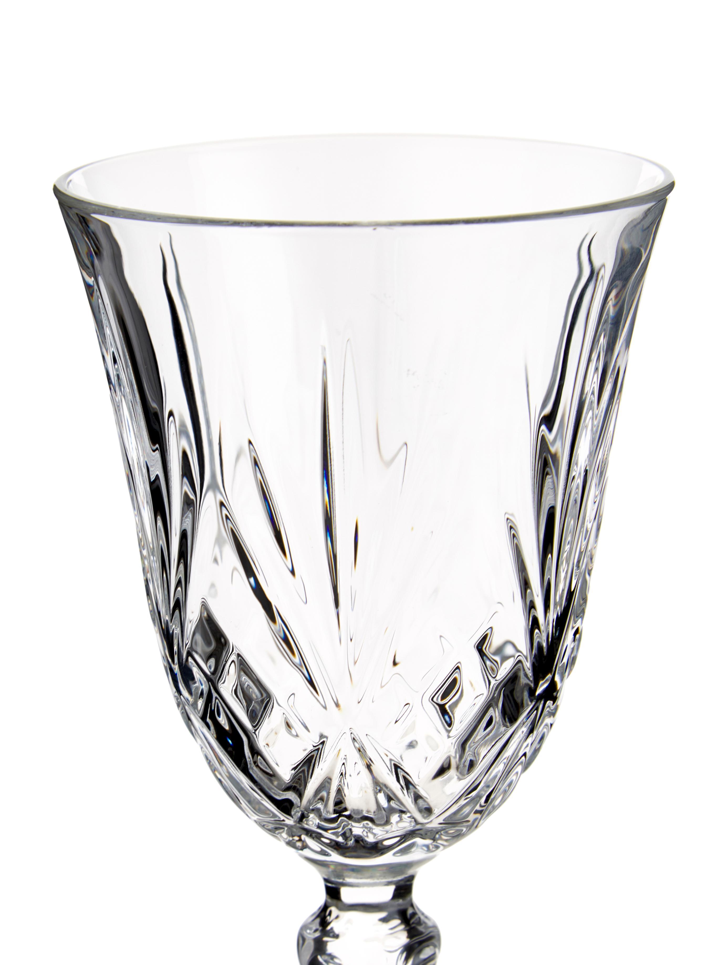 Verres à vin blanc en cristal à surface rainurée Melodia, 6pièces, Transparent