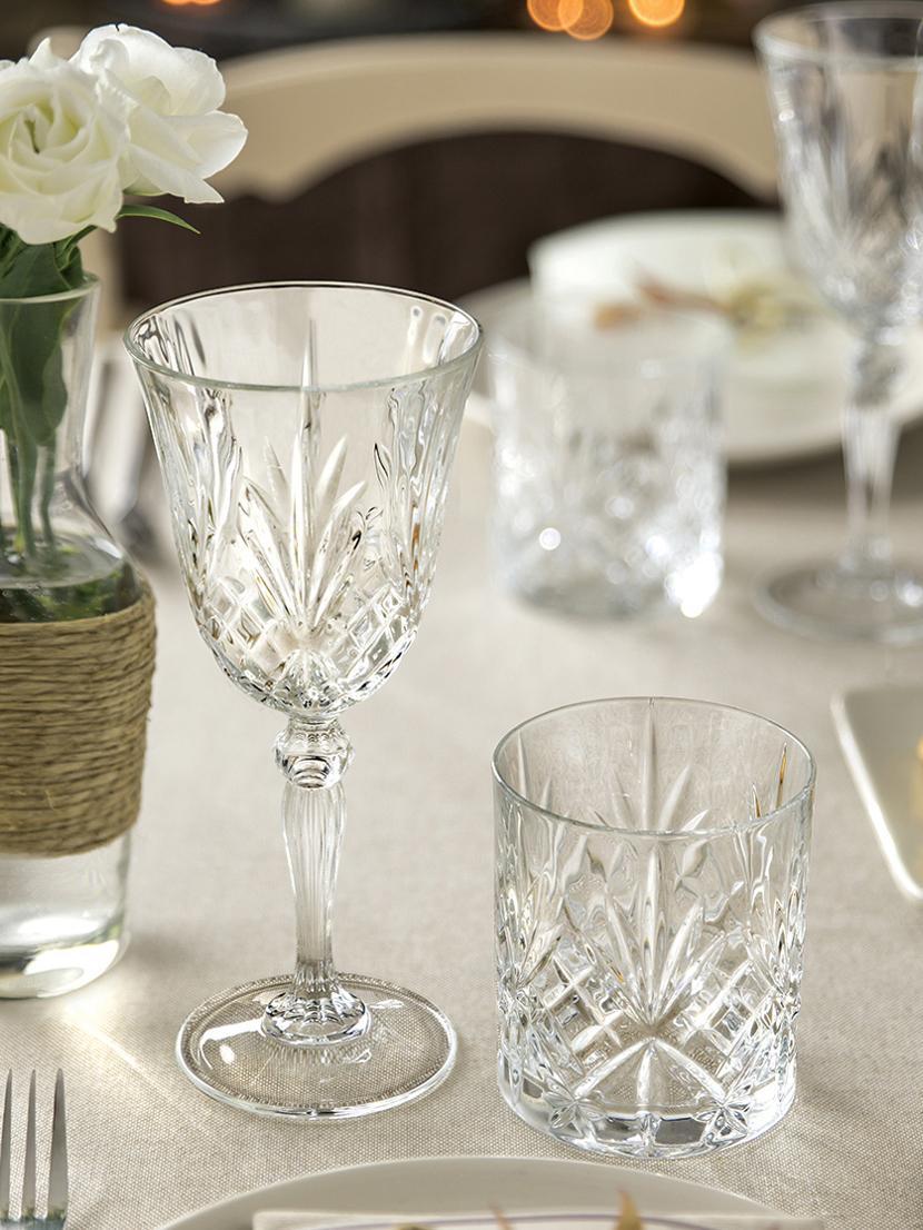 Kristall-Weißweingläser Melodia mit Reliefmuster, 6er-Set, Kristallglas, Transparent, Ø 8 x H 19 cm
