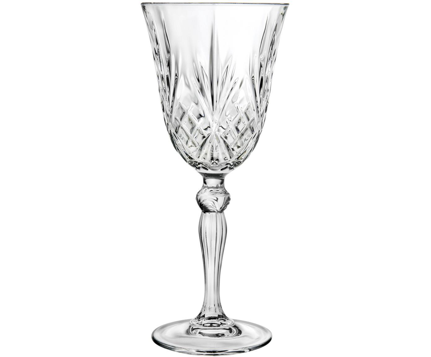 Kristallen witte wijnglazen Melodia, 6 stuks, Kristalglas, Transparant, Ø 8 x H 19 cm