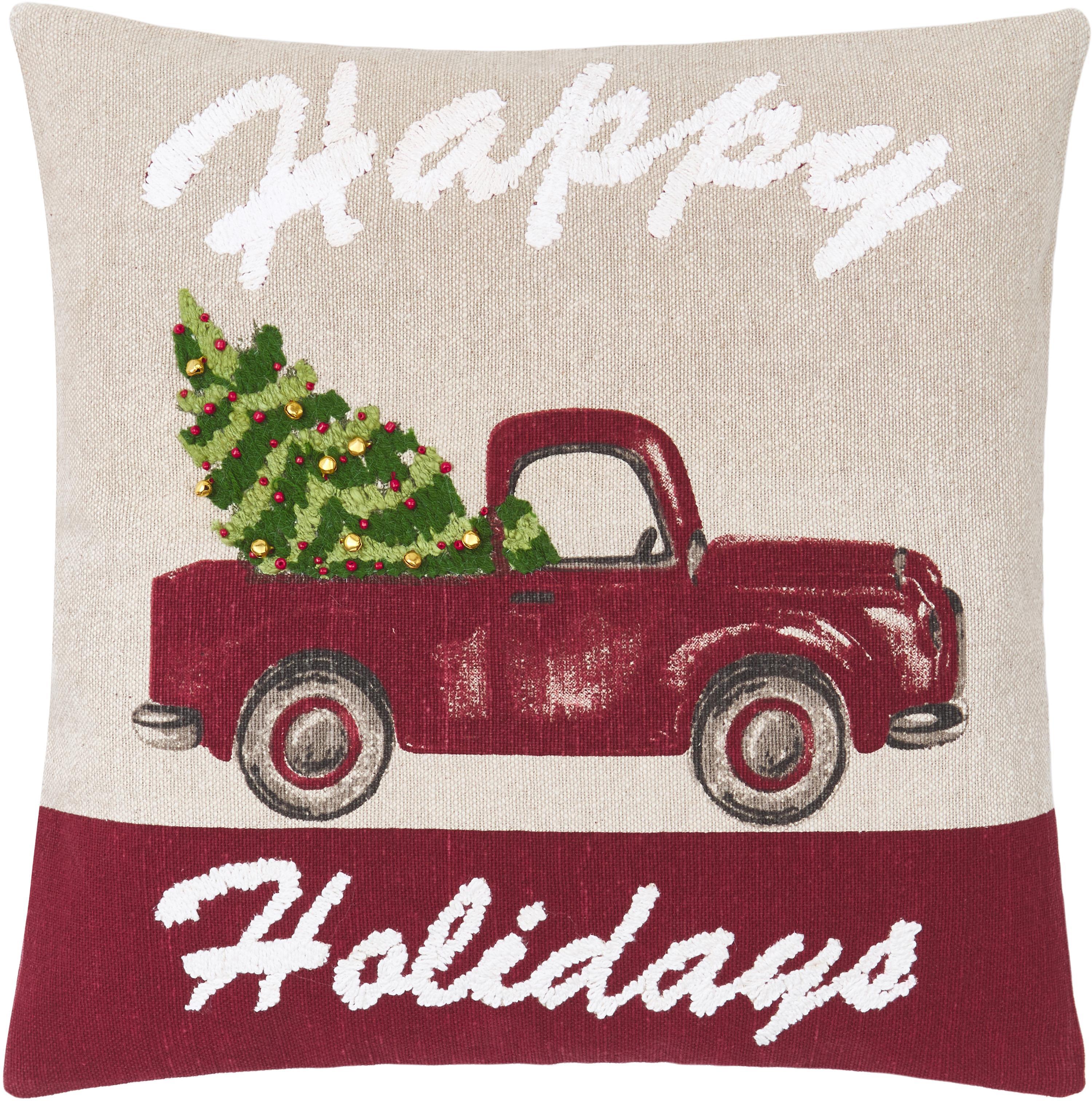 Kussenhoes Happy Holidays met fijne geborduurde details, 100% katoen, Beige, rood, groen, 45 x 45 cm