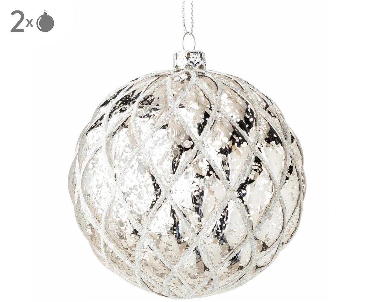 Kerstballen Dan, 2 stuks, Kunststof, Steengrijs, Ø 8 cm