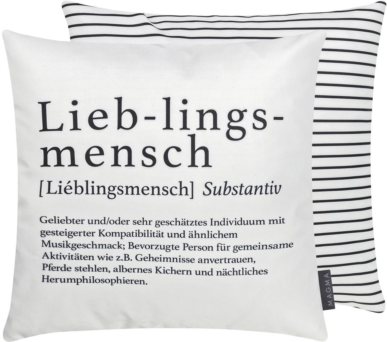 Wendekissen Wordart, mit Inlett, 100% Polyester, Schwarz, Weiß, 40 x 40 cm