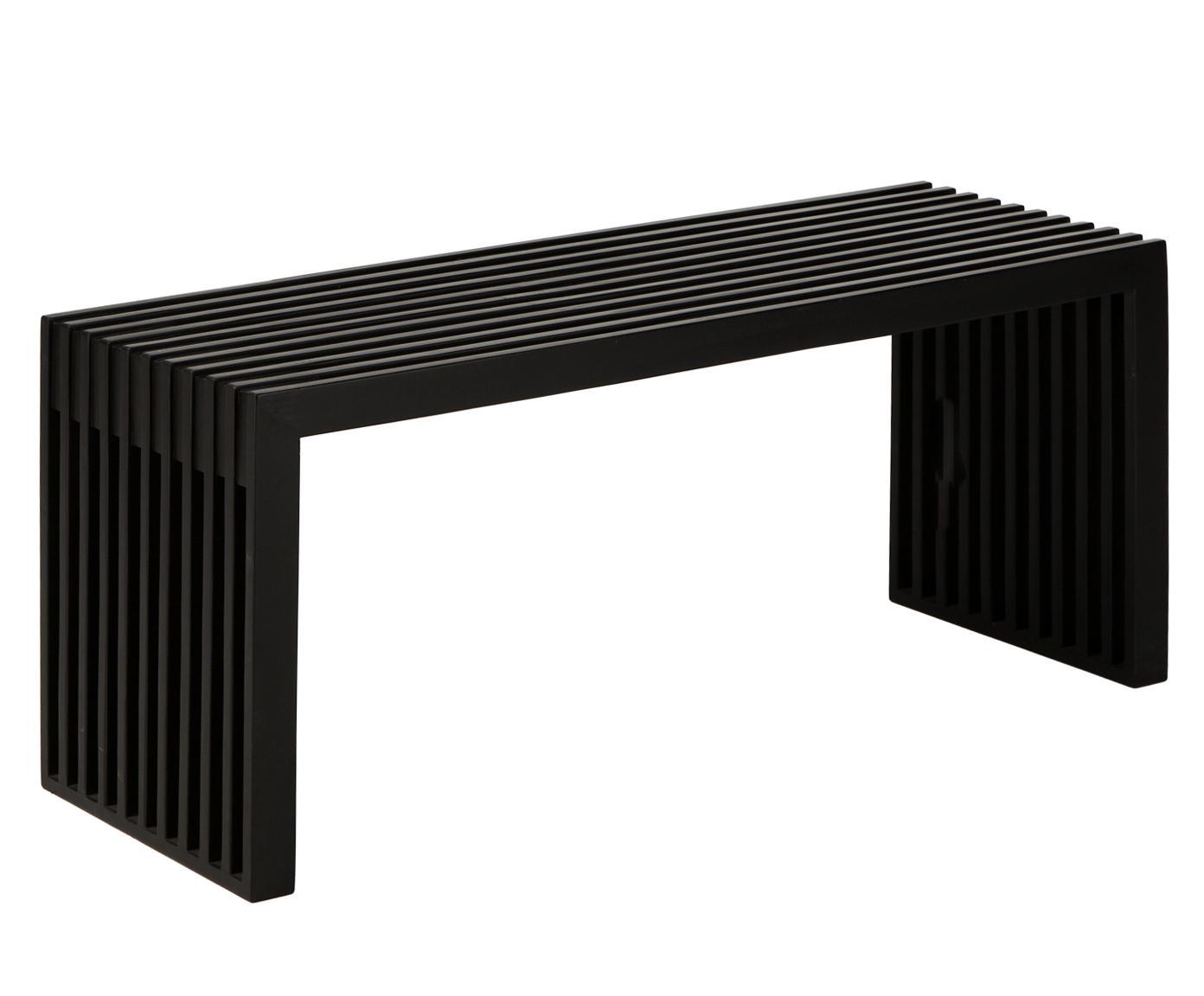 Bank Rib, Gelakt mahoniehout, Zwart, 104 x 43 cm