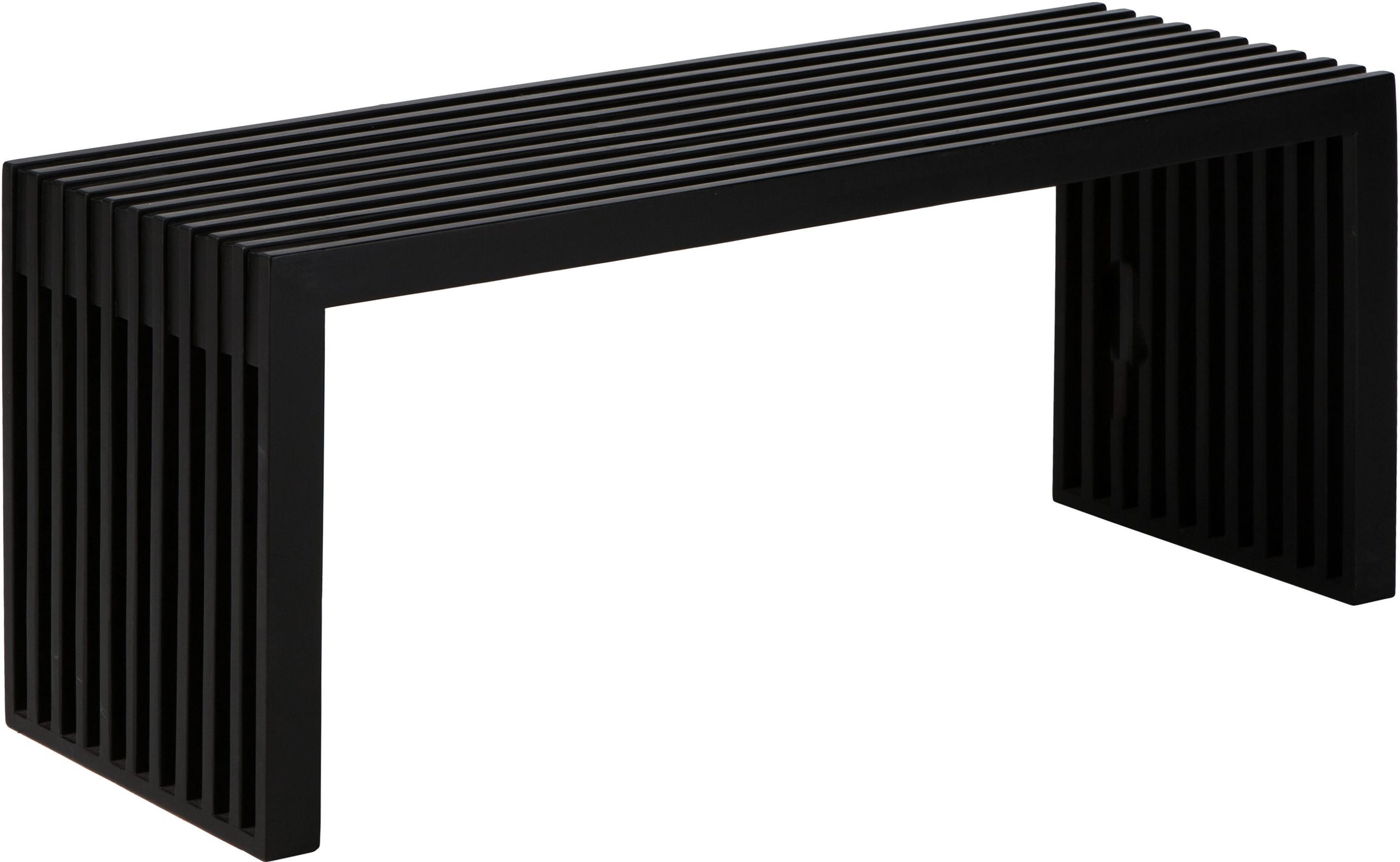 Panca moderna in mogano Rib, Legno di mogano verniciato, Nero, Larg. 104 x Alt. 43 cm